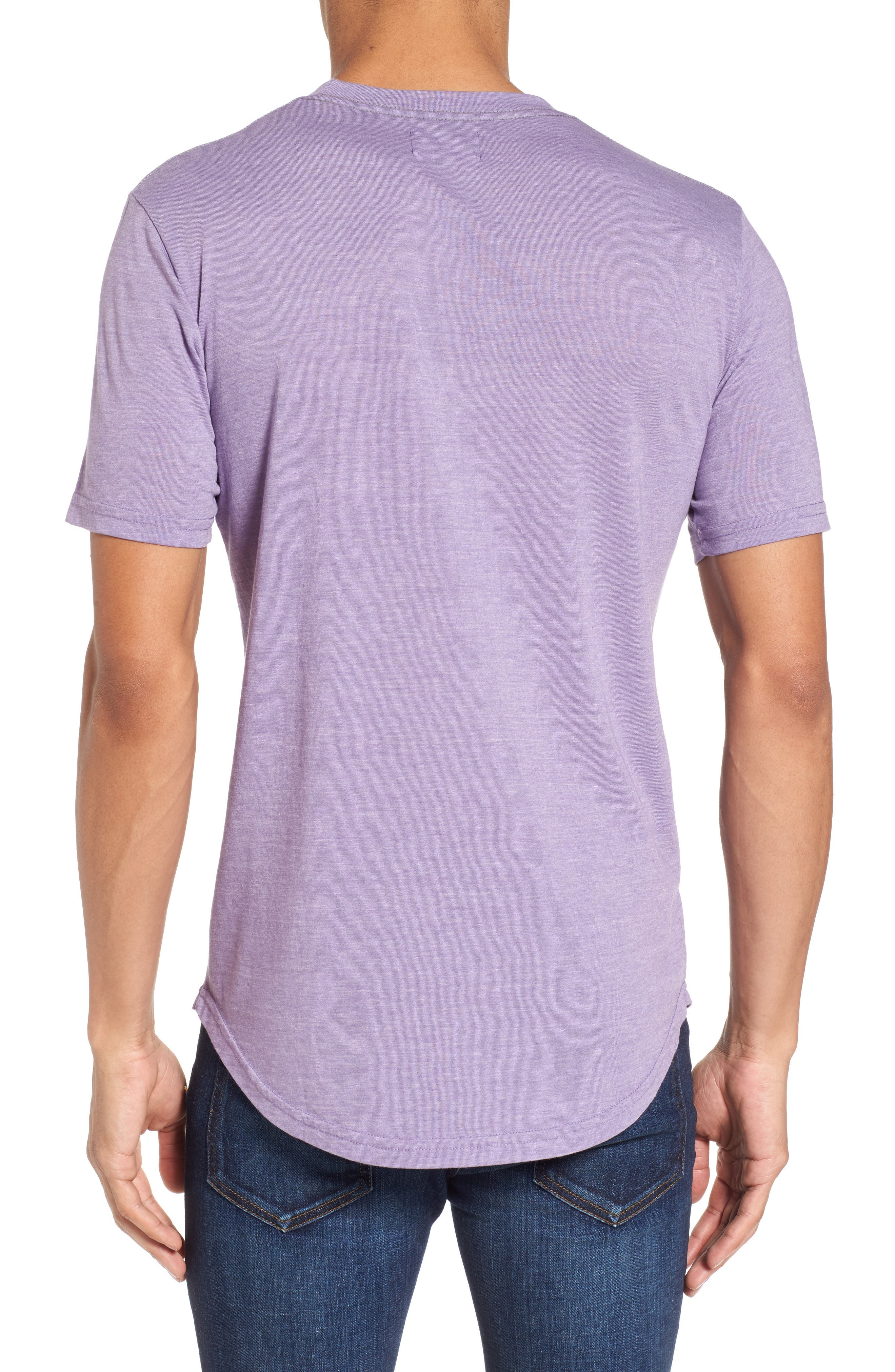 Scallop Triblend Crewneck T-Shirt,                             Alternate thumbnail 2, color,                             Purple Haze