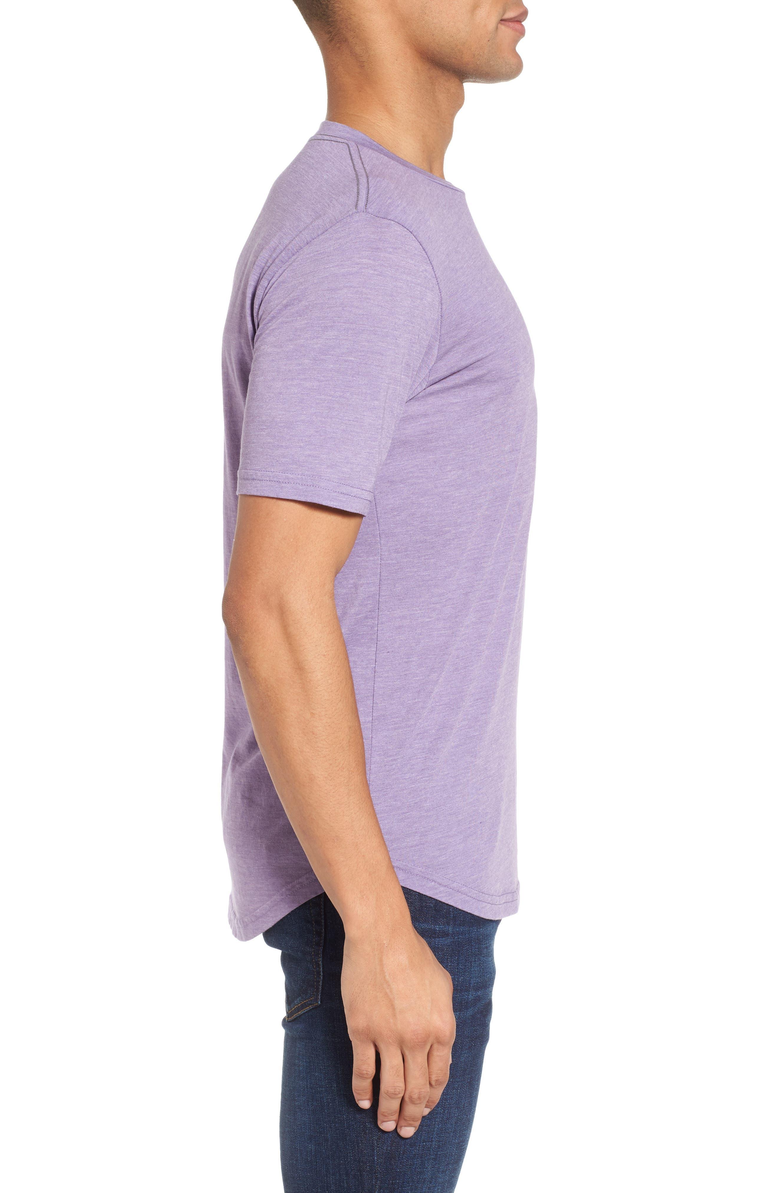 Scallop Triblend Crewneck T-Shirt,                             Alternate thumbnail 3, color,                             Purple Haze