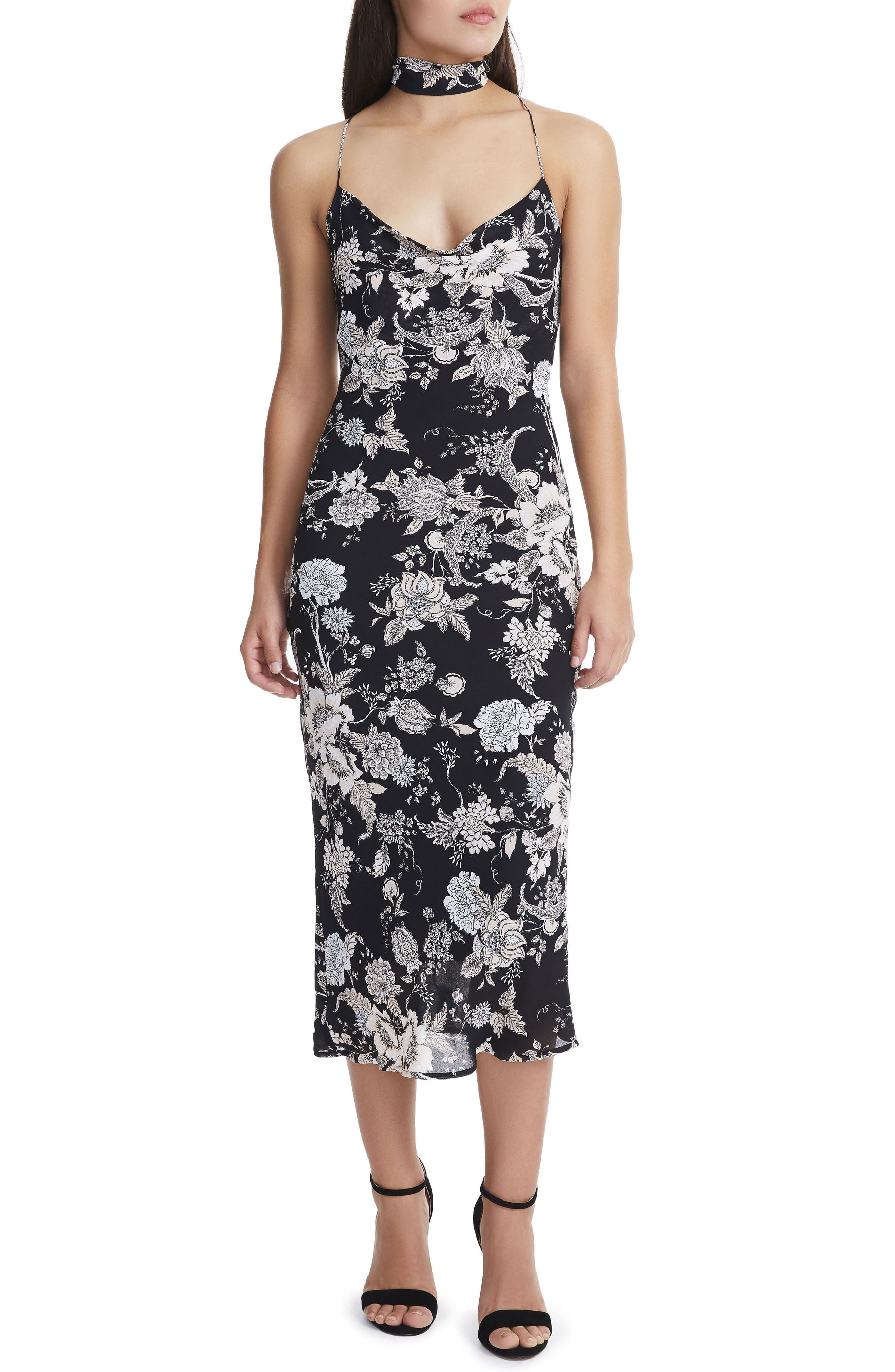 Sloan Choker Neck Midi Slipdress,                             Main thumbnail 1, color,                             Noir Bouquet