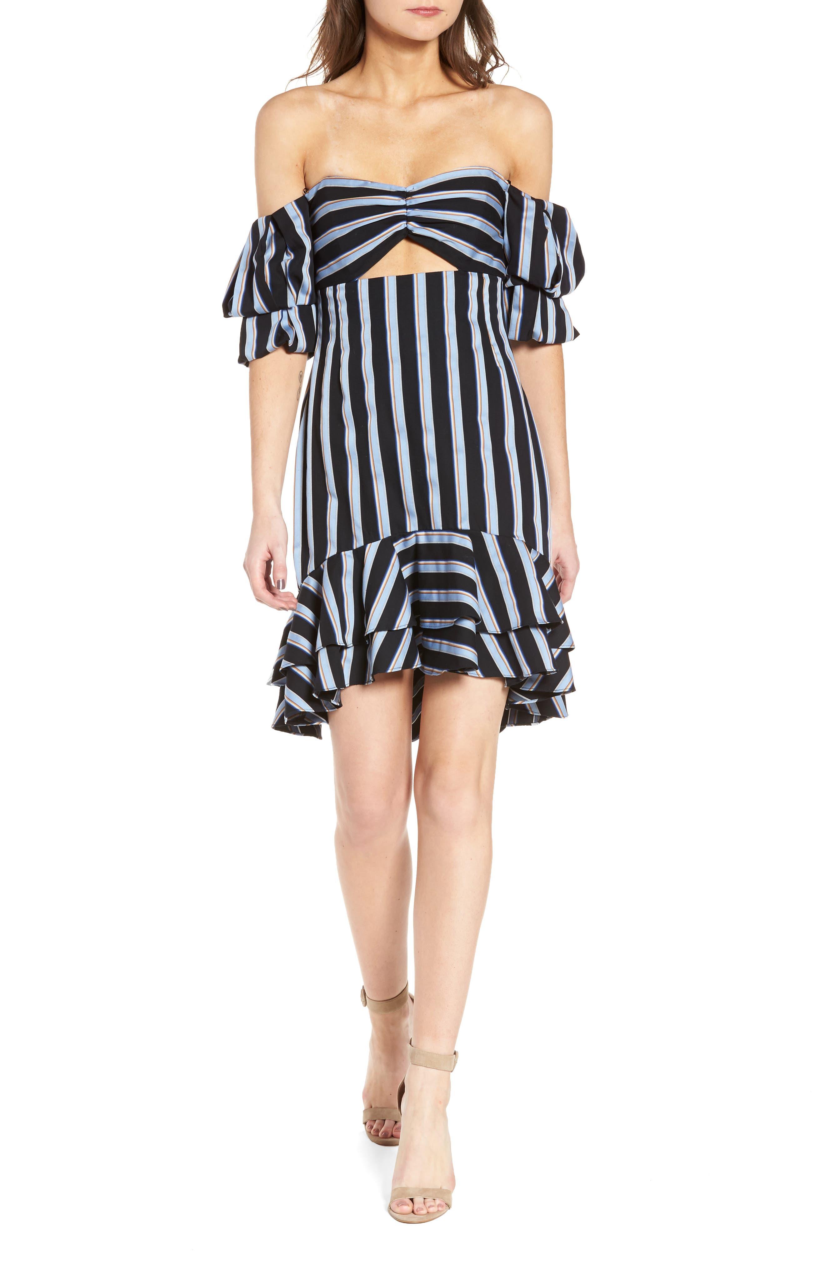 Tegan Off the Shoulder Dress,                         Main,                         color, Black/ Blue Stripe