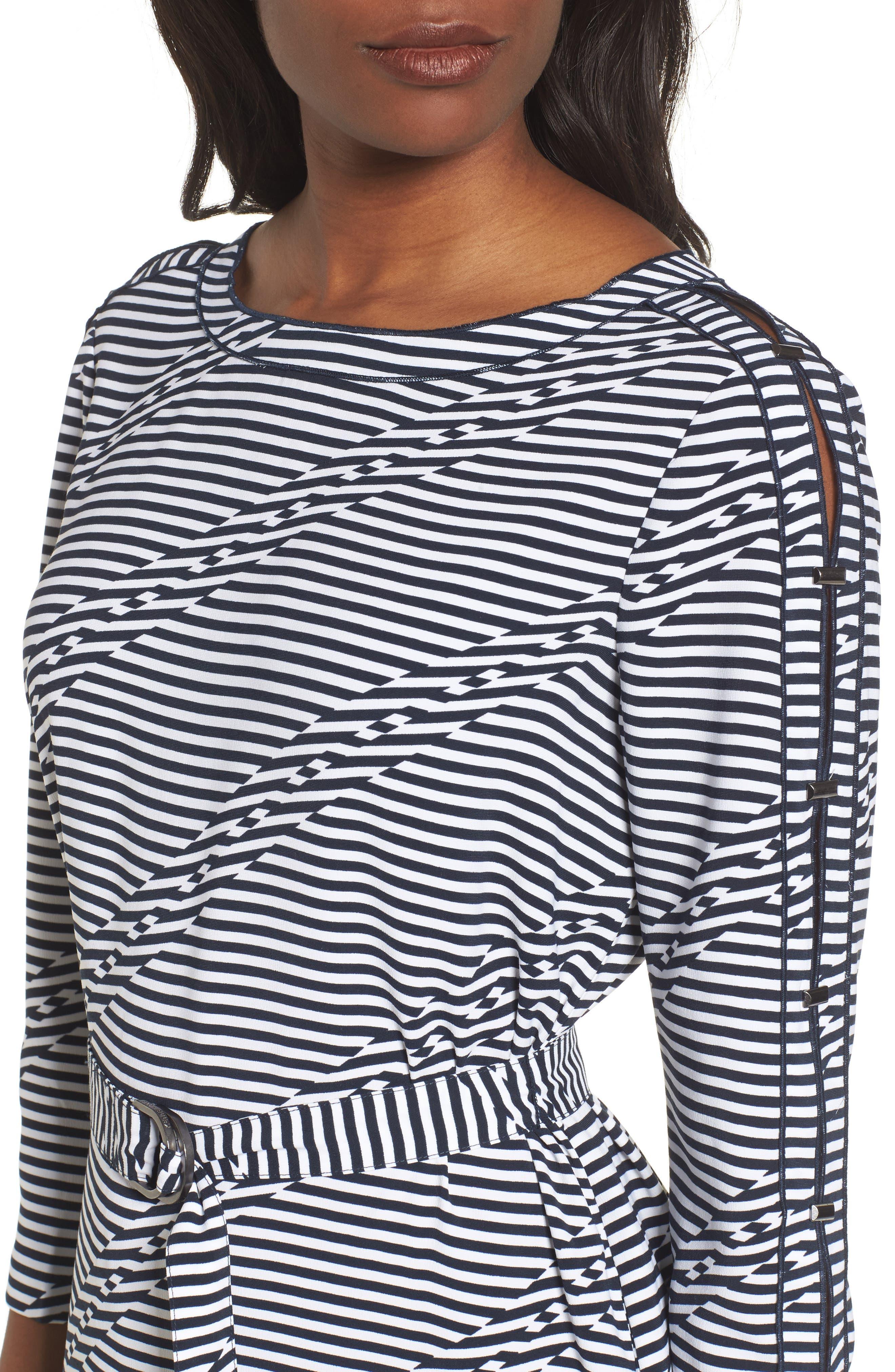 Belted Waist Dress,                             Alternate thumbnail 4, color,                             Offset Stripe Indigo