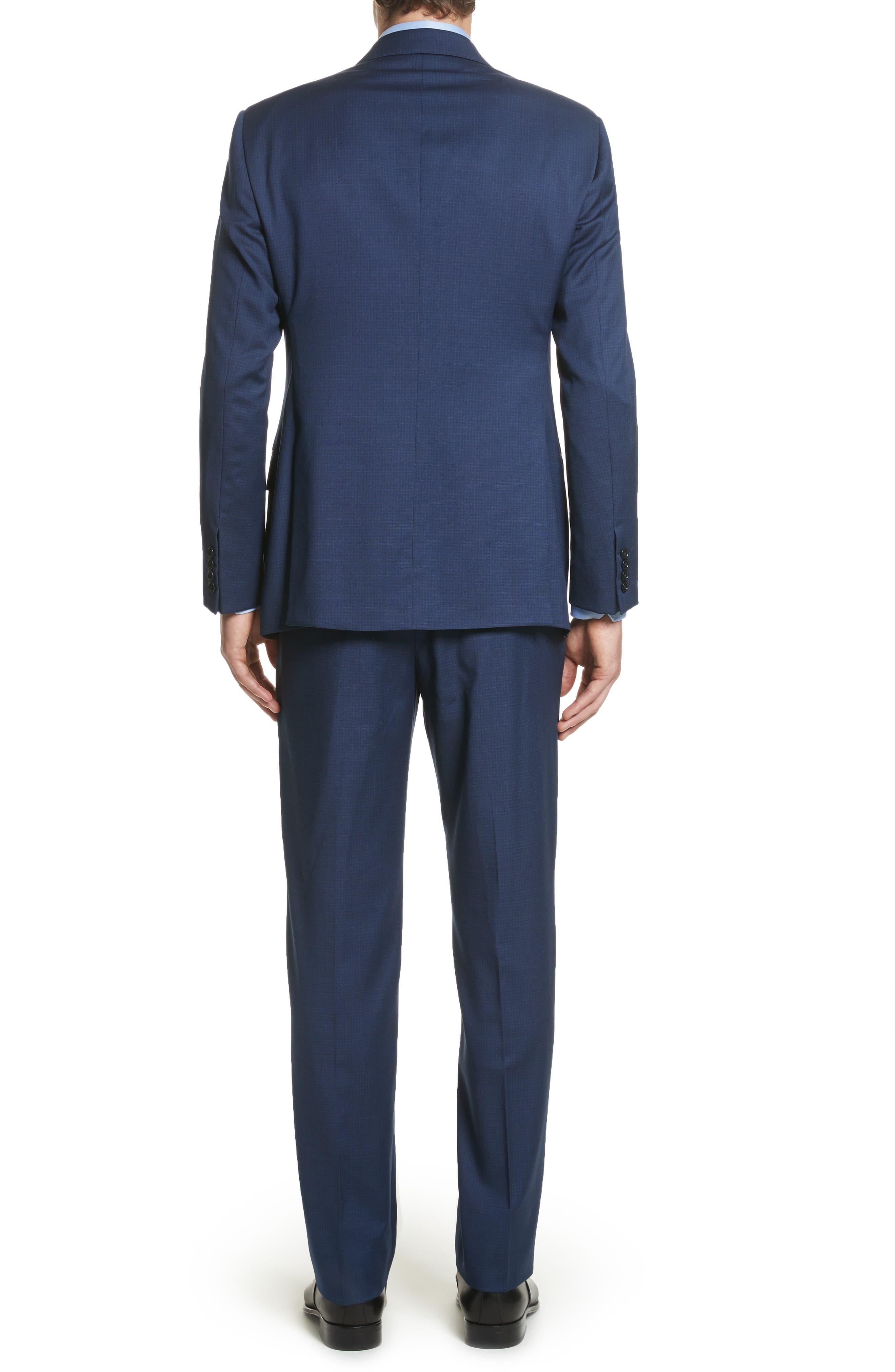 G Line Trim Fit Check Wool Suit,                             Alternate thumbnail 2, color,                             Navy
