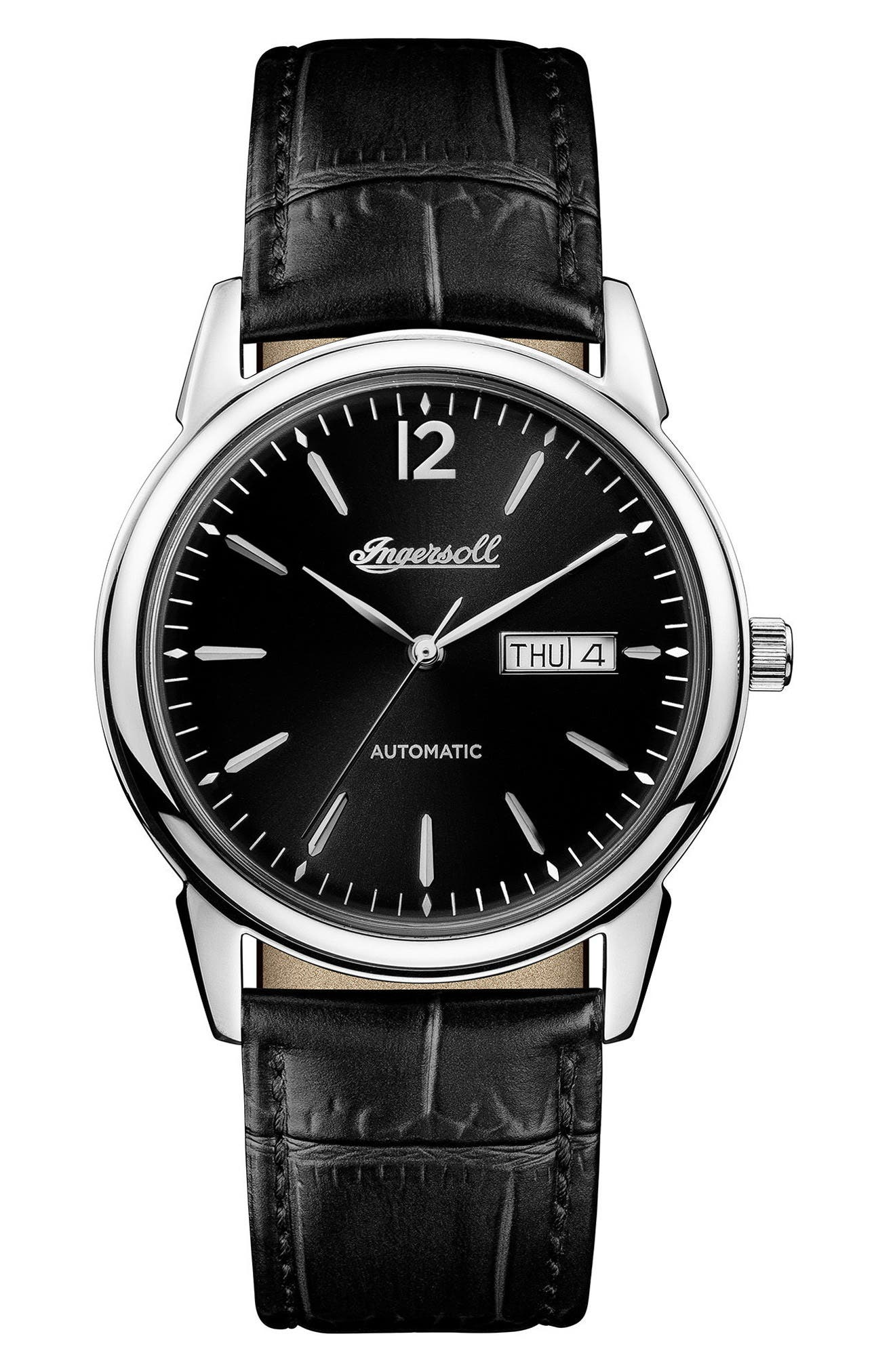 Ingersoll New Haven Automatic Leather Strap Watch, 40mm,                         Main,                         color, Black/ Silver