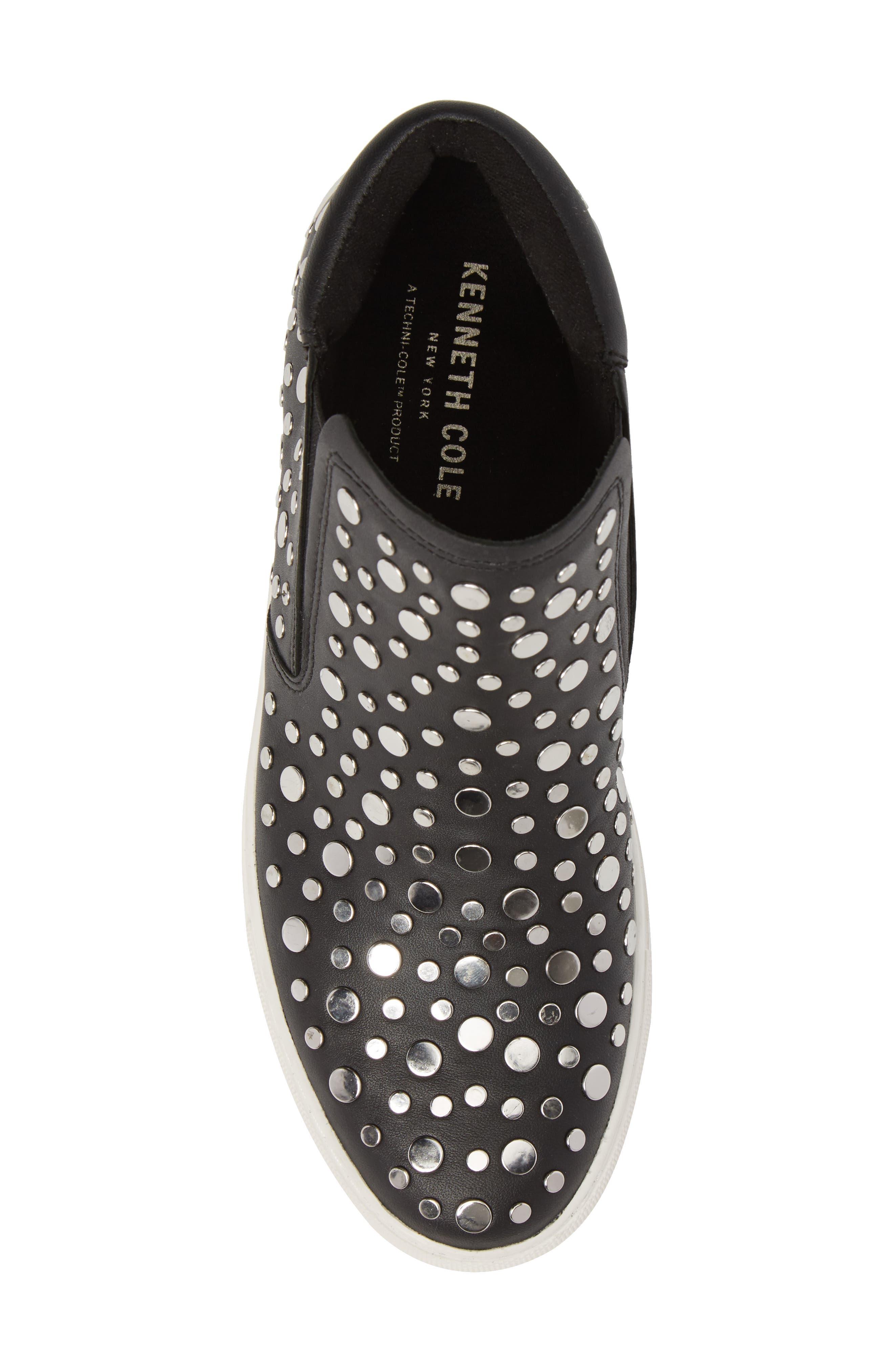 Kalvin Studded High Top Sneaker,                             Alternate thumbnail 5, color,                             Black Leather