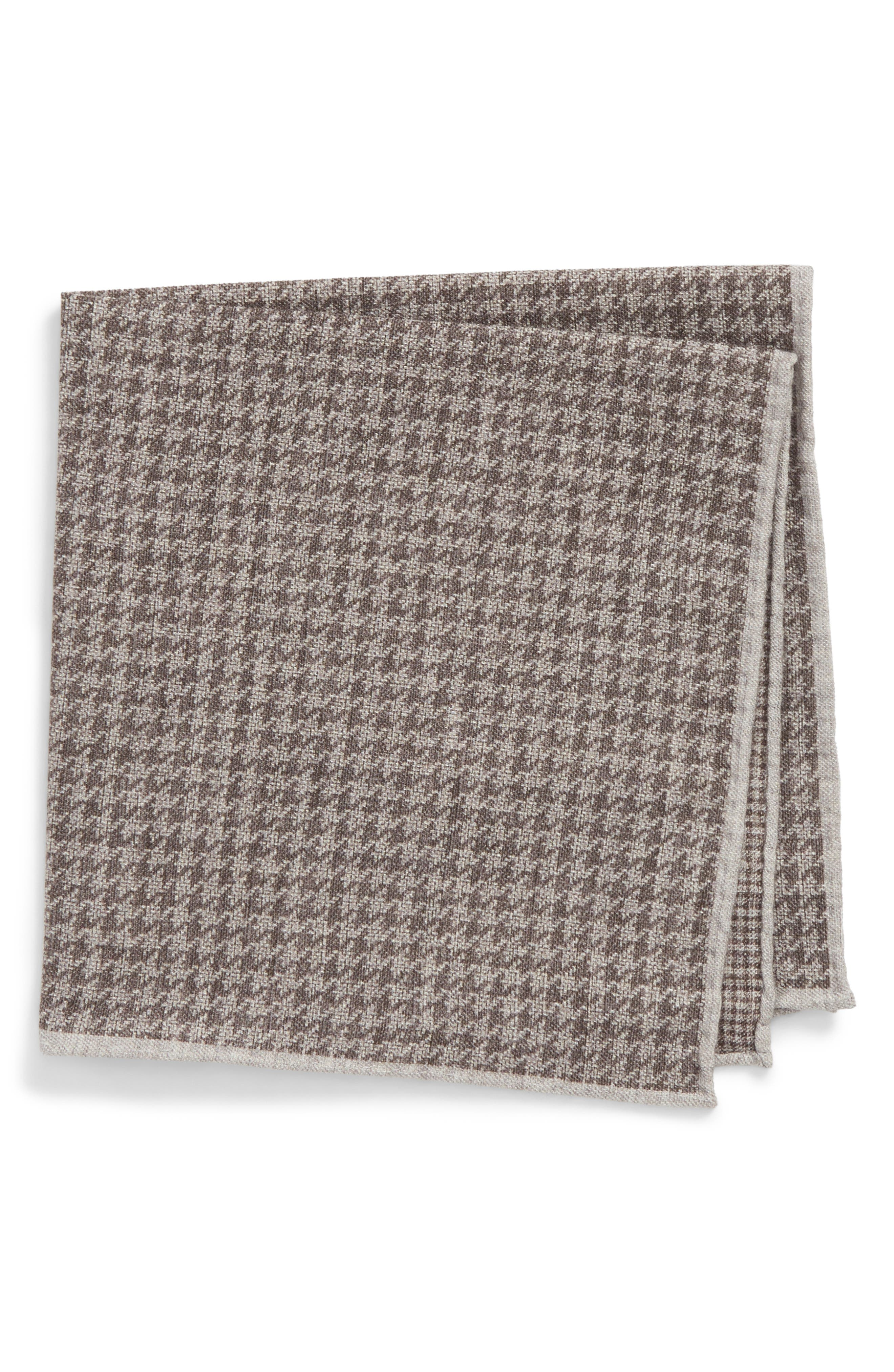 Houndstooth Wool & Cotton Pocket Square,                         Main,                         color, Charcoal