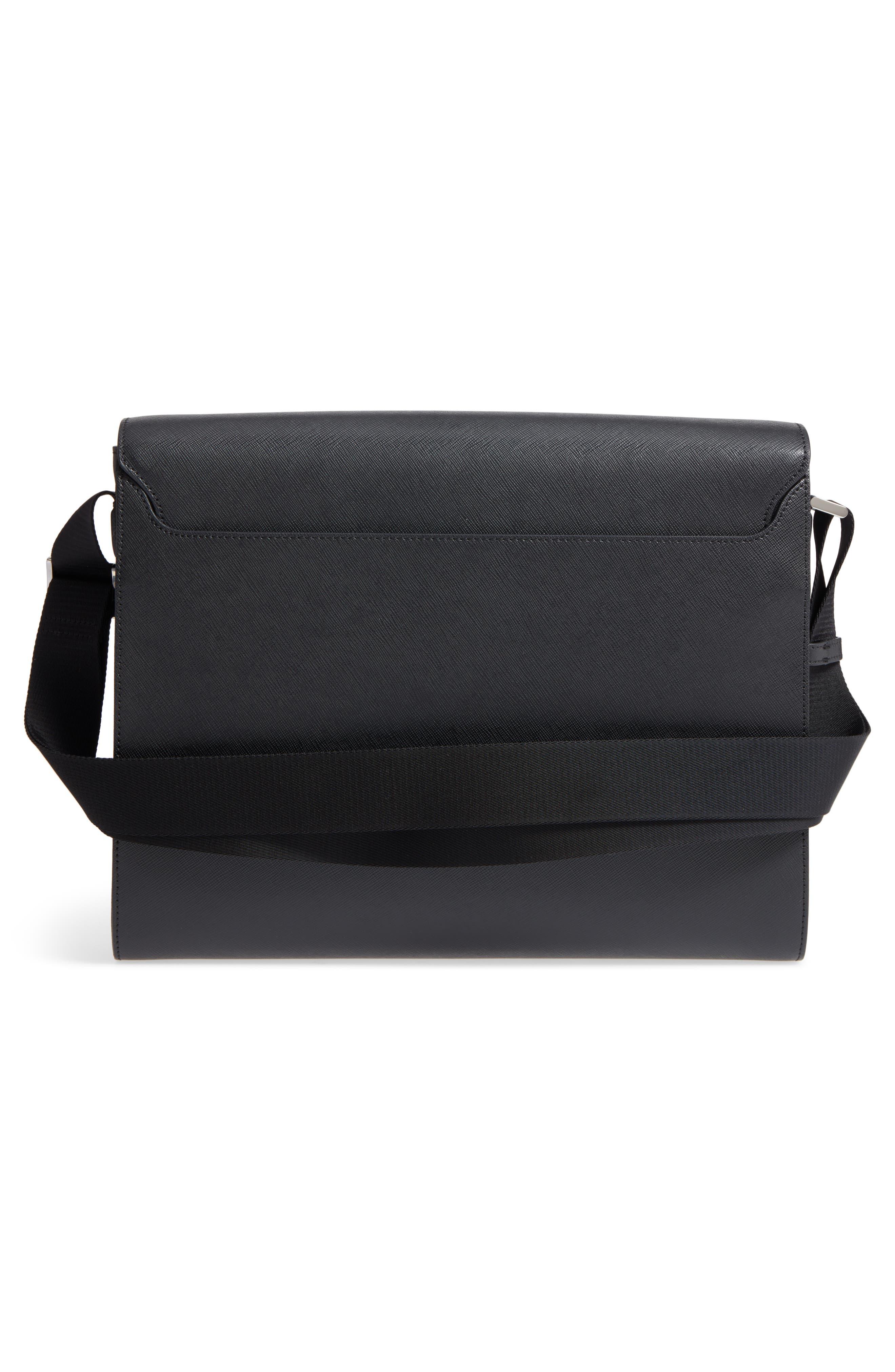 Sartorial Messenger Bag,                             Alternate thumbnail 3, color,                             Black