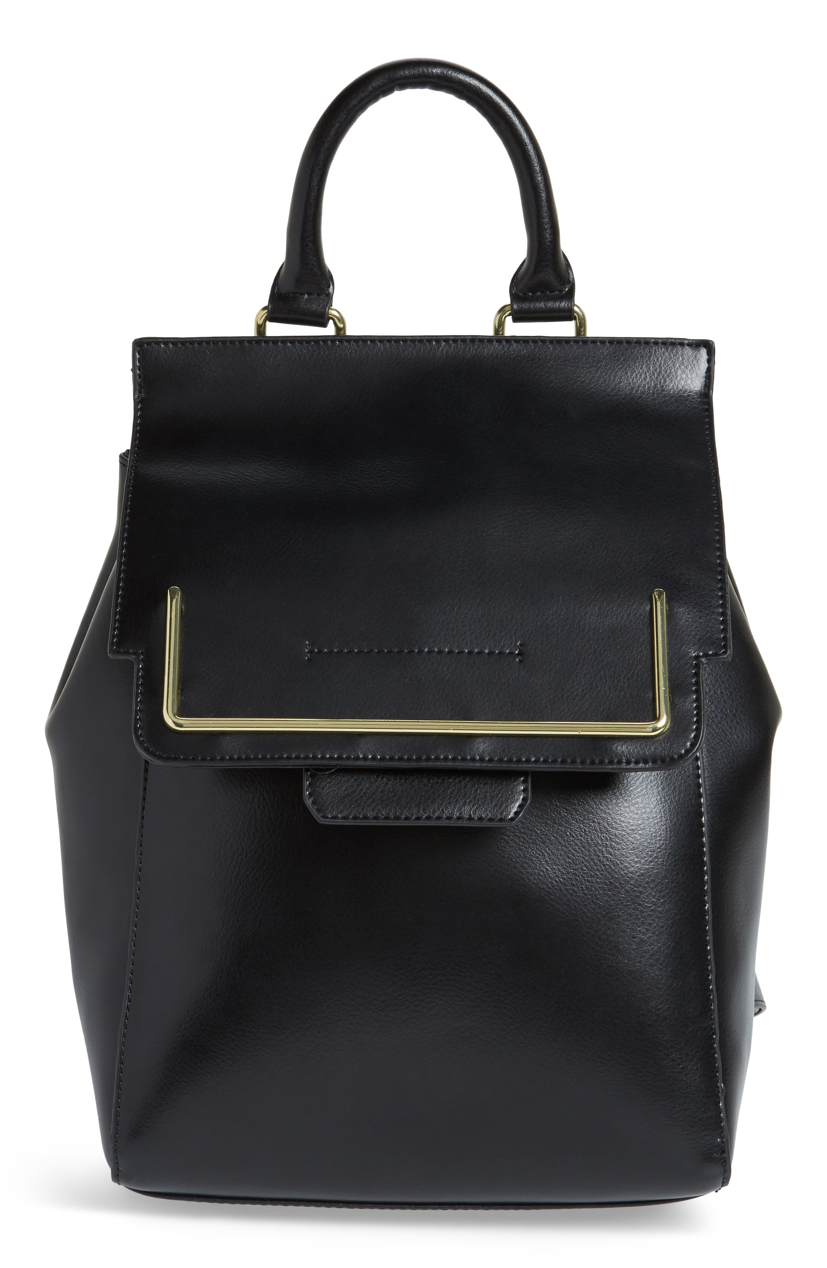 Dylan Leather Backpack,                             Main thumbnail 1, color,                             Black