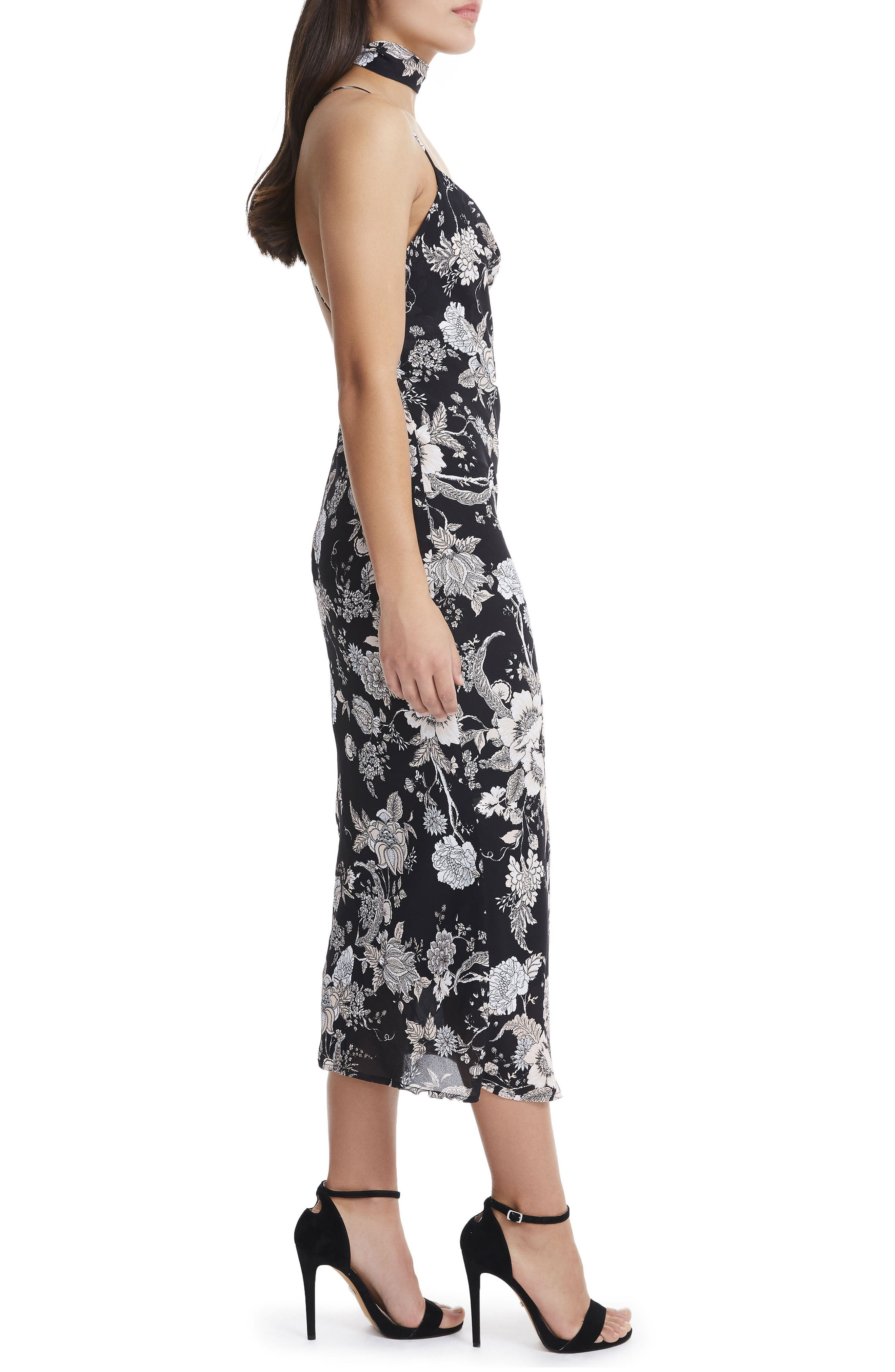 Sloan Choker Neck Midi Slipdress,                             Alternate thumbnail 3, color,                             Noir Bouquet