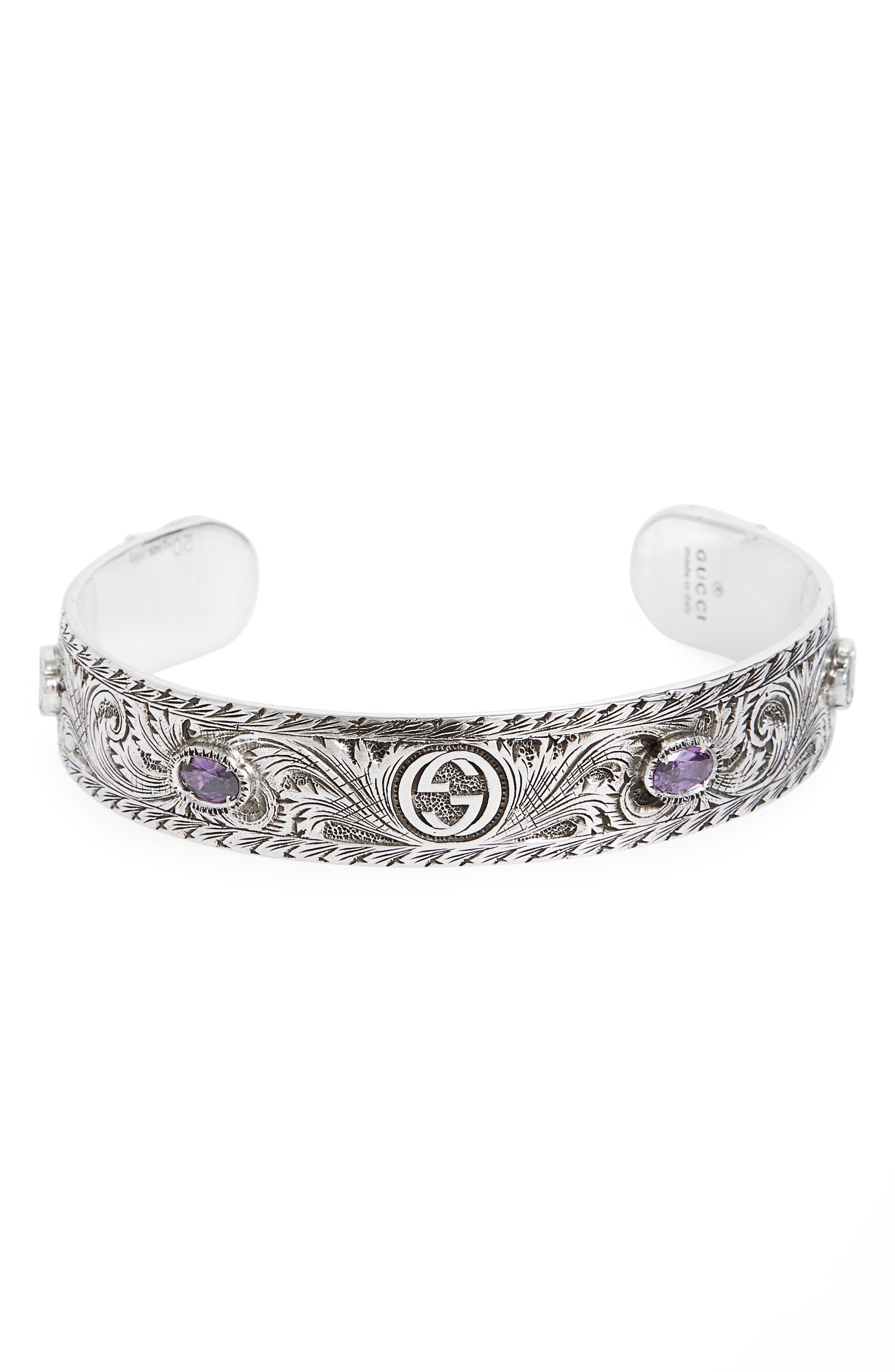 Garden Cuff Bracelet,                         Main,                         color, Silver