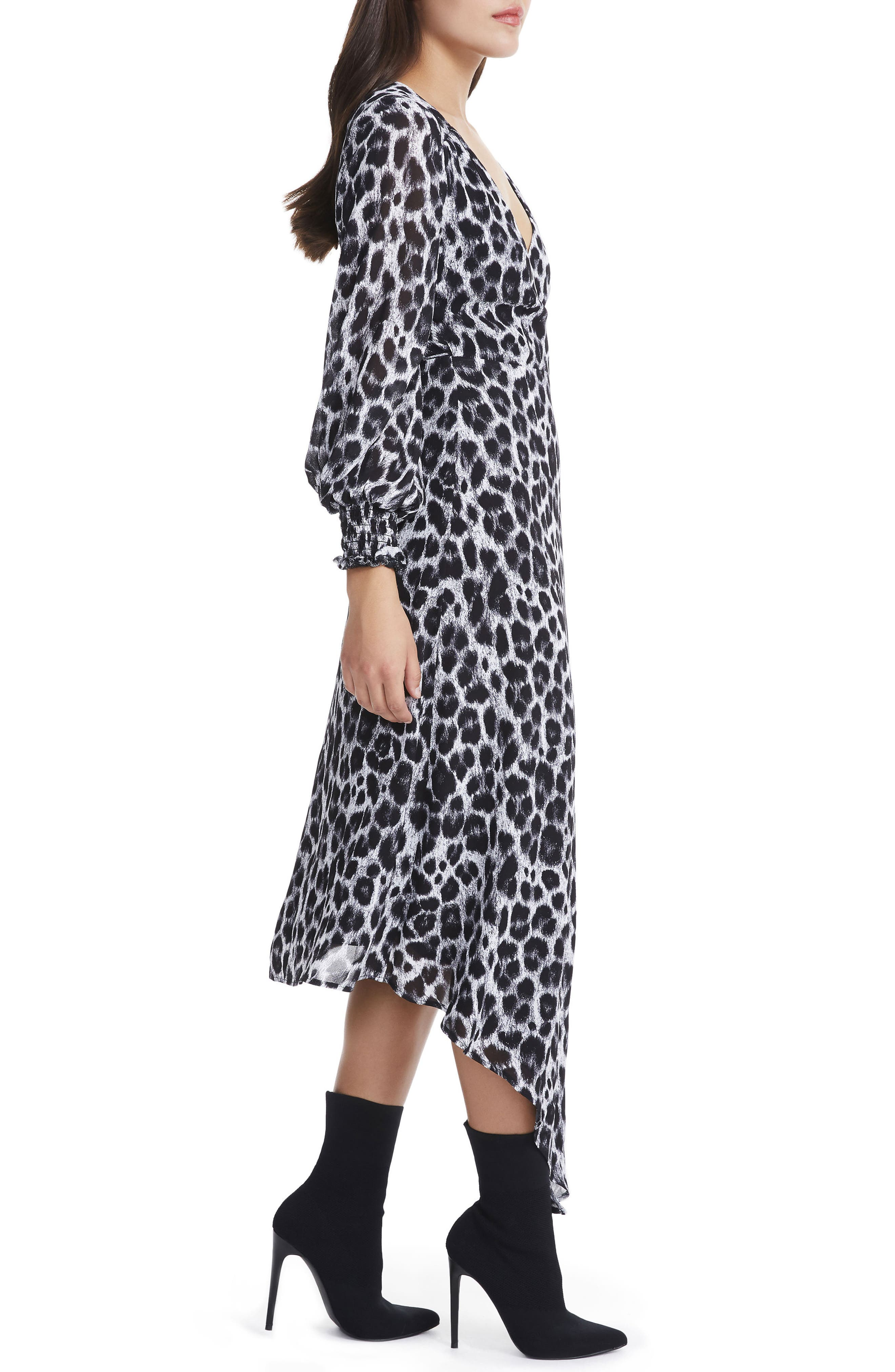 Amalfi Lantern Wrap Dress,                             Alternate thumbnail 3, color,                             Grey Leopard