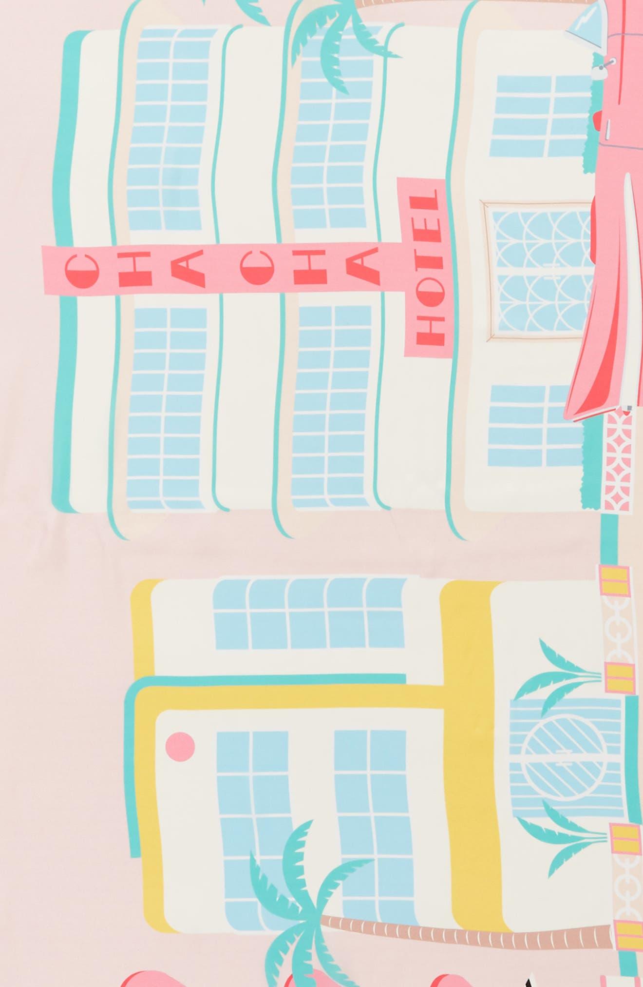 deco hotel oblong silk scarf,                             Alternate thumbnail 4, color,                             Valentine Pink
