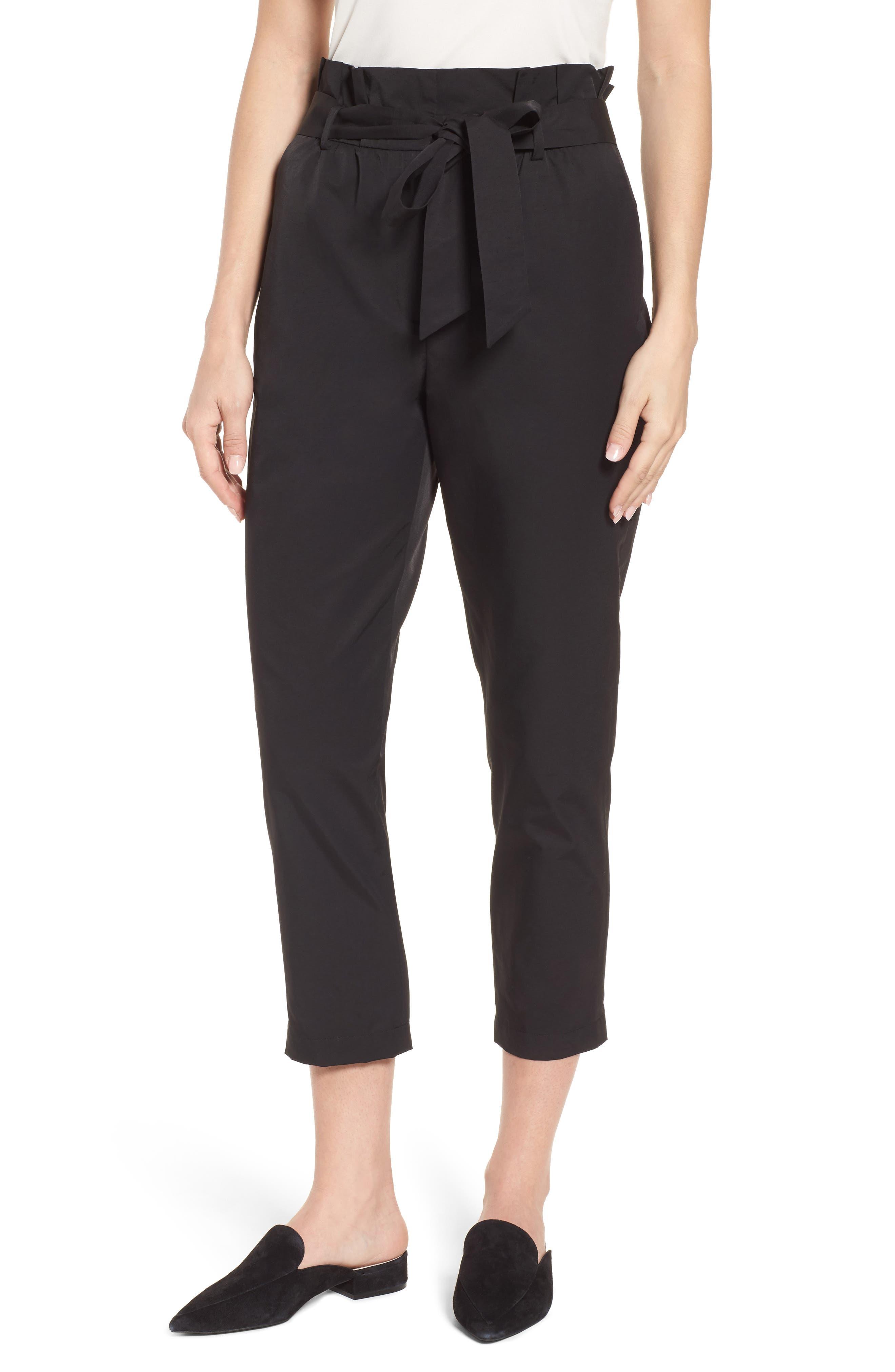 Paperbag Tie Waist Pants,                         Main,                         color, Black