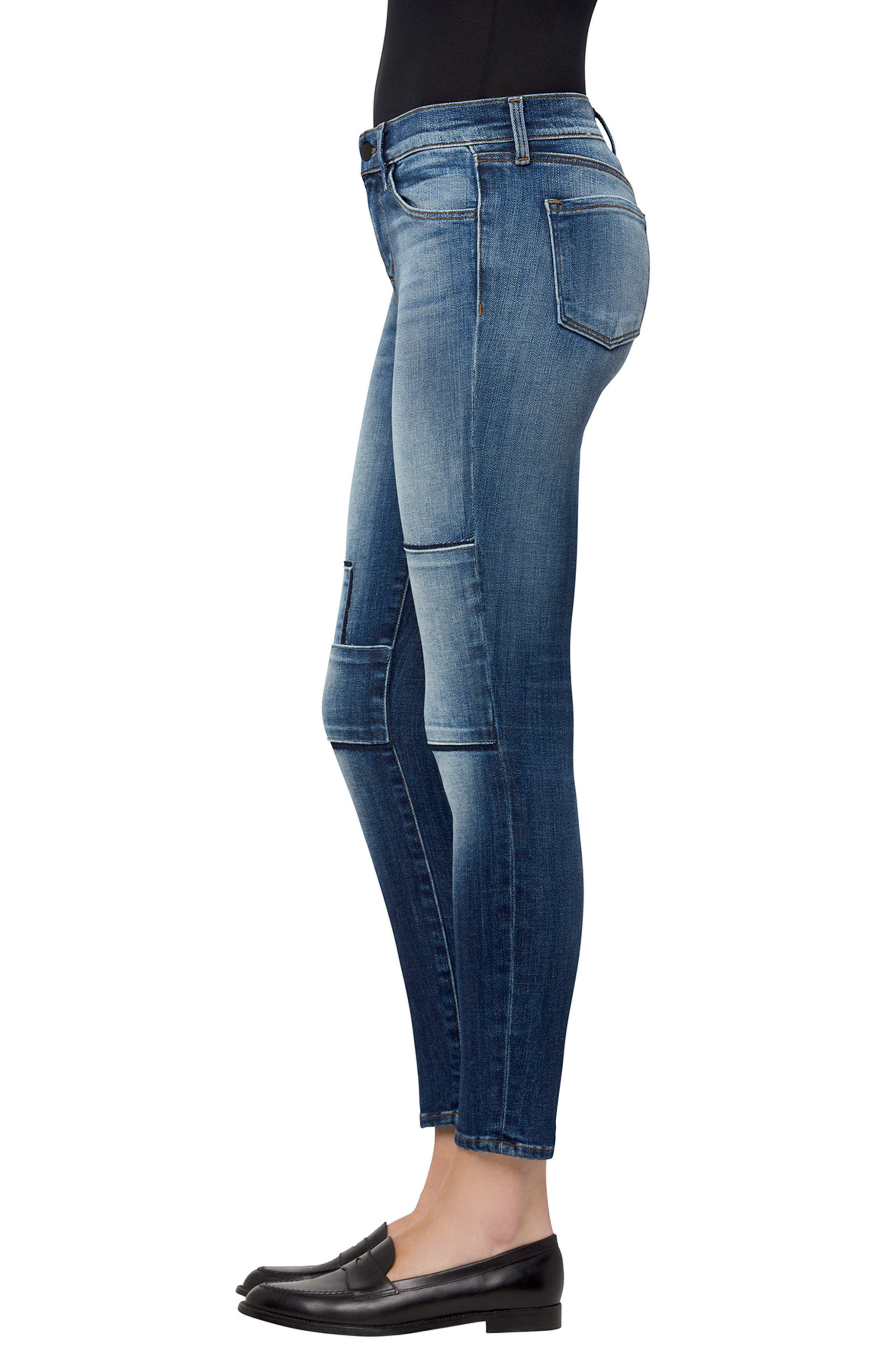 835 Crop Skinny Jeans,                             Alternate thumbnail 3, color,                             Jasper Patched