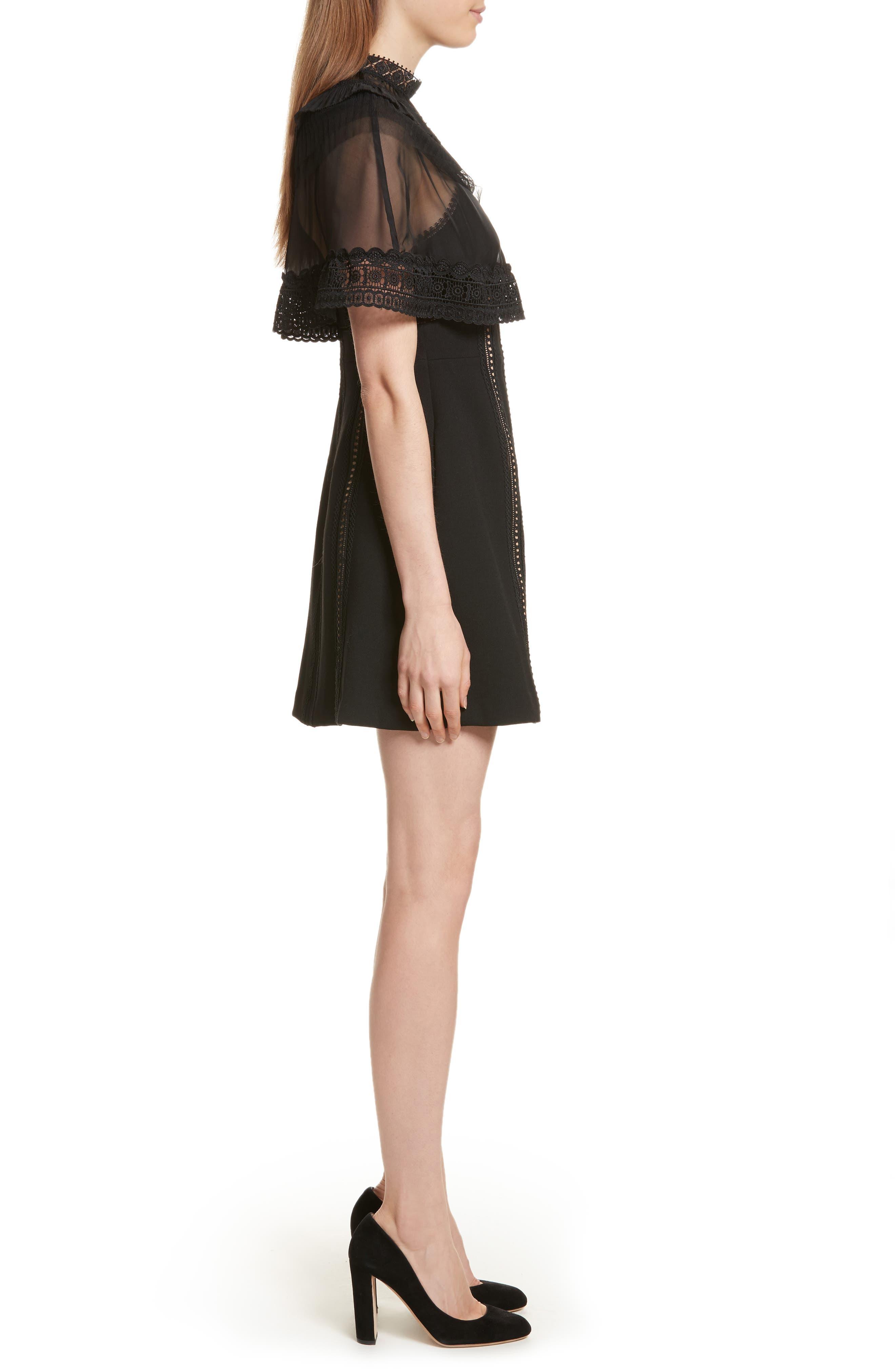 Trimmed Overlay Minidress,                             Alternate thumbnail 3, color,                             Black