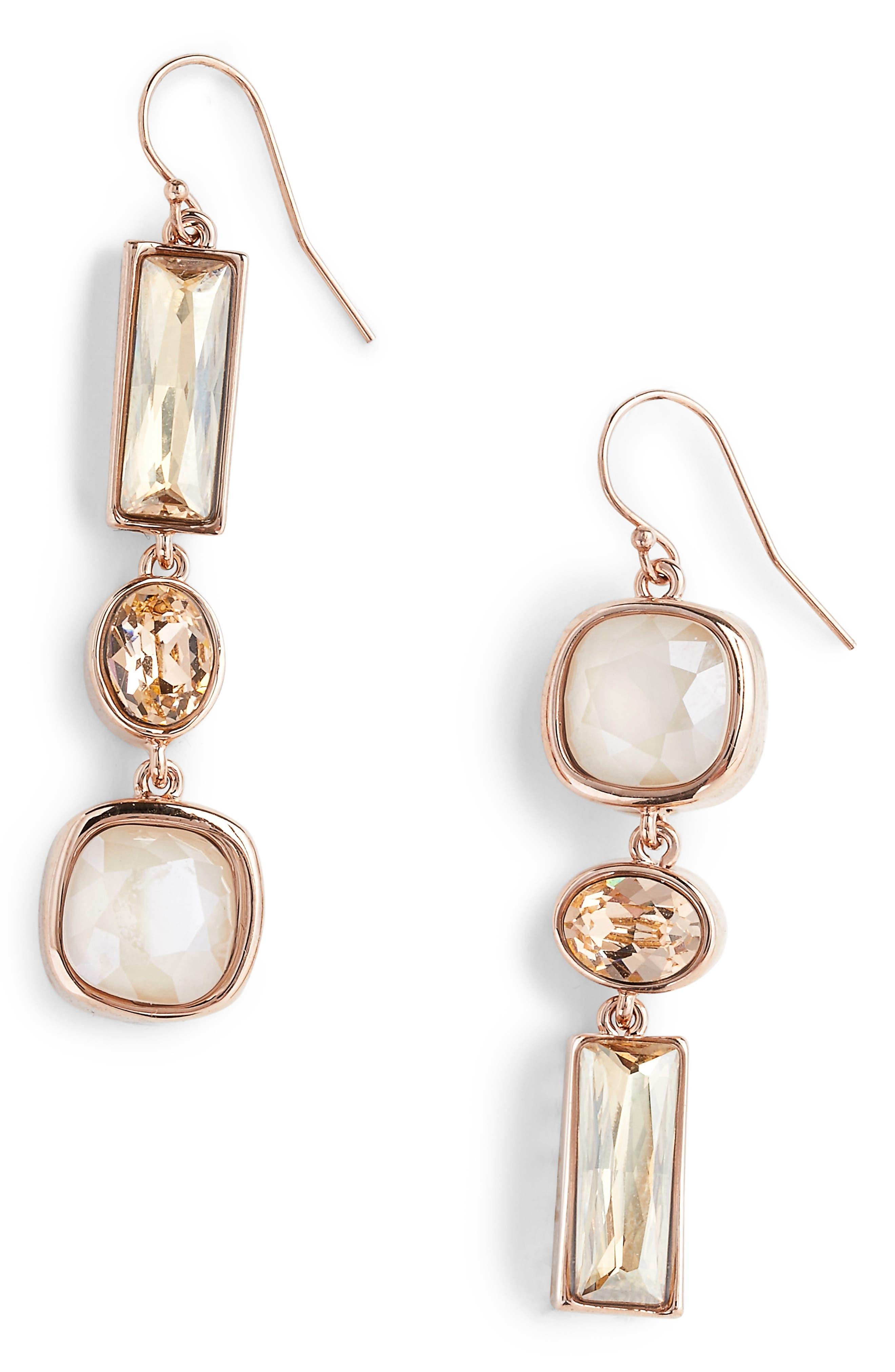 Swarovski Crystal Drop Earrings,                         Main,                         color, Crystal Ivory Cream/ Peach