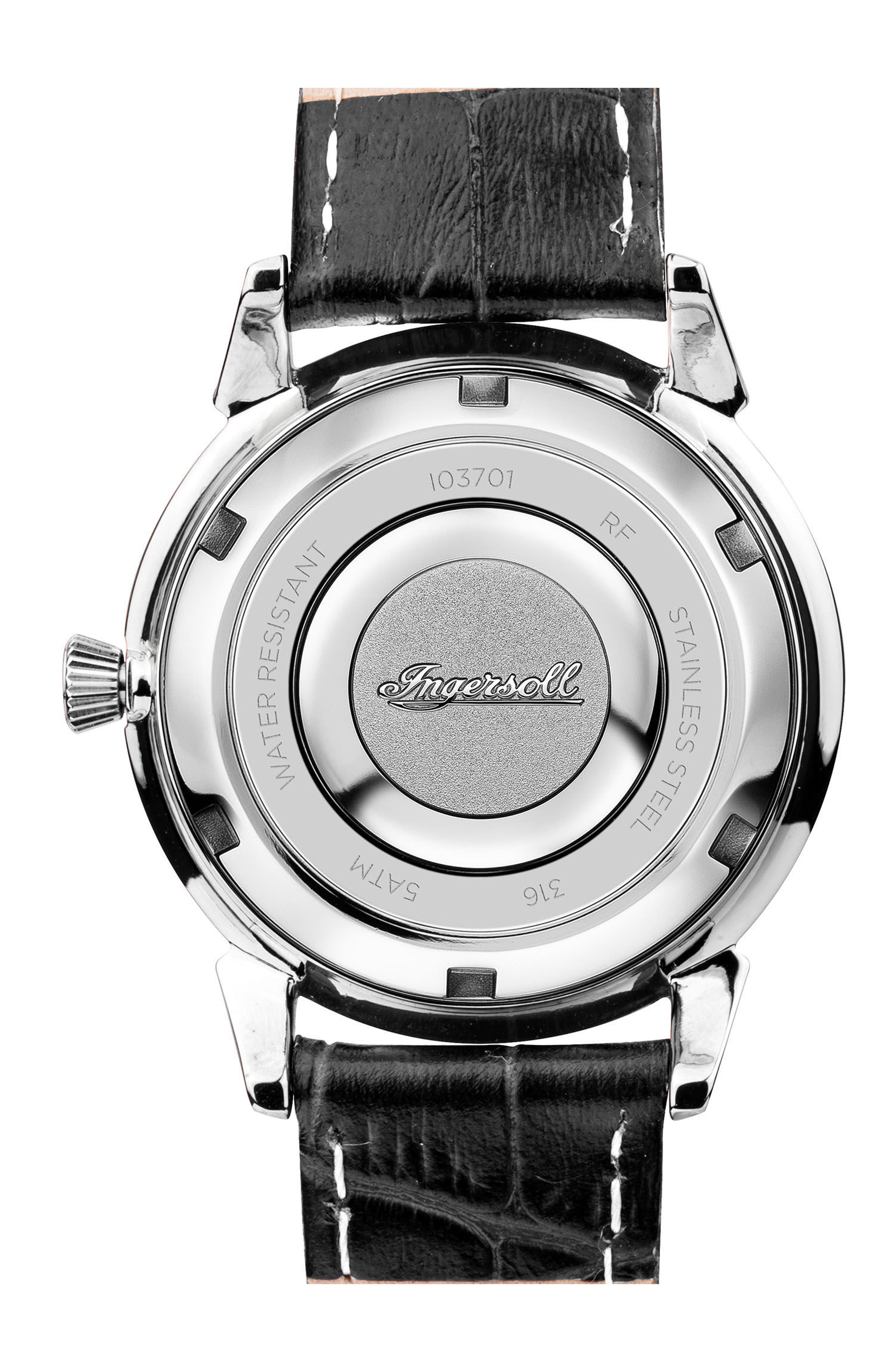 Ingersoll Crystal Accent Leather Strap Watch, 34mm,                             Alternate thumbnail 2, color,                             Black/ White/ Silver