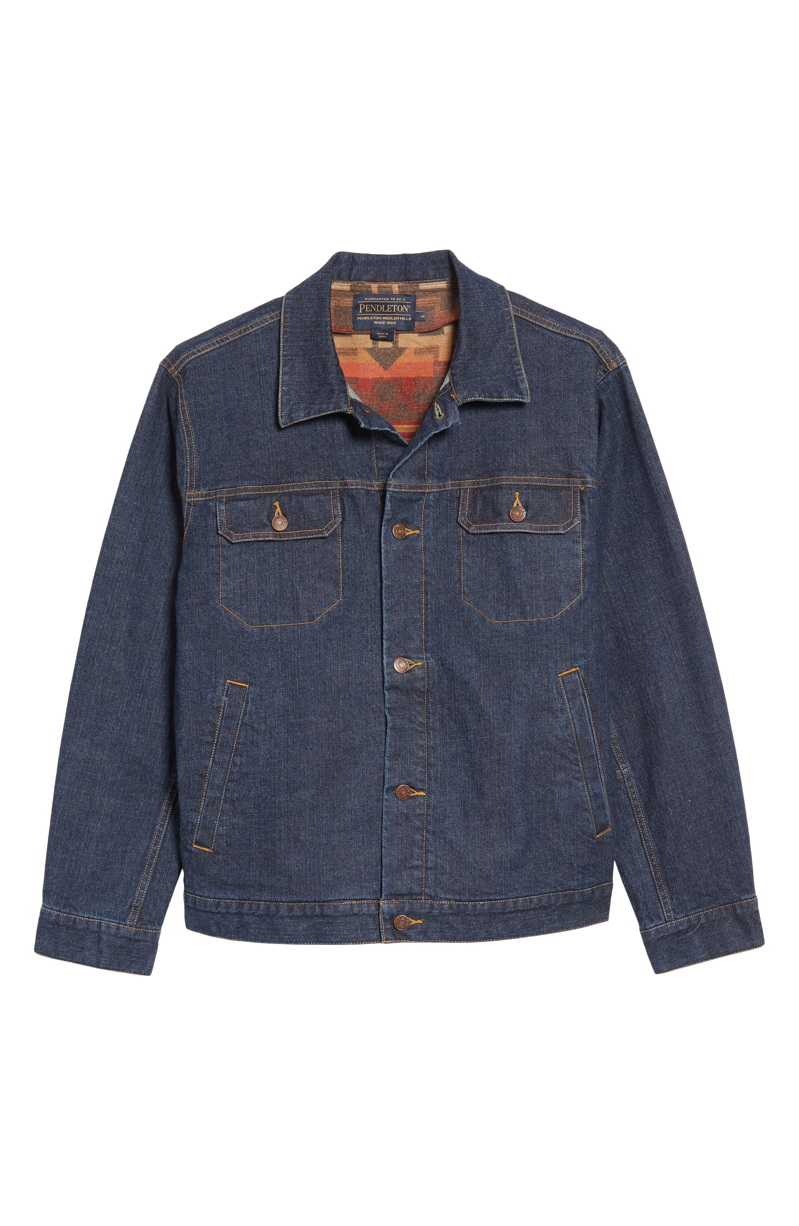 Denim Jacket with Removable Wool Vest,                             Alternate thumbnail 6, color,                             Denim With Broken Arrow Red