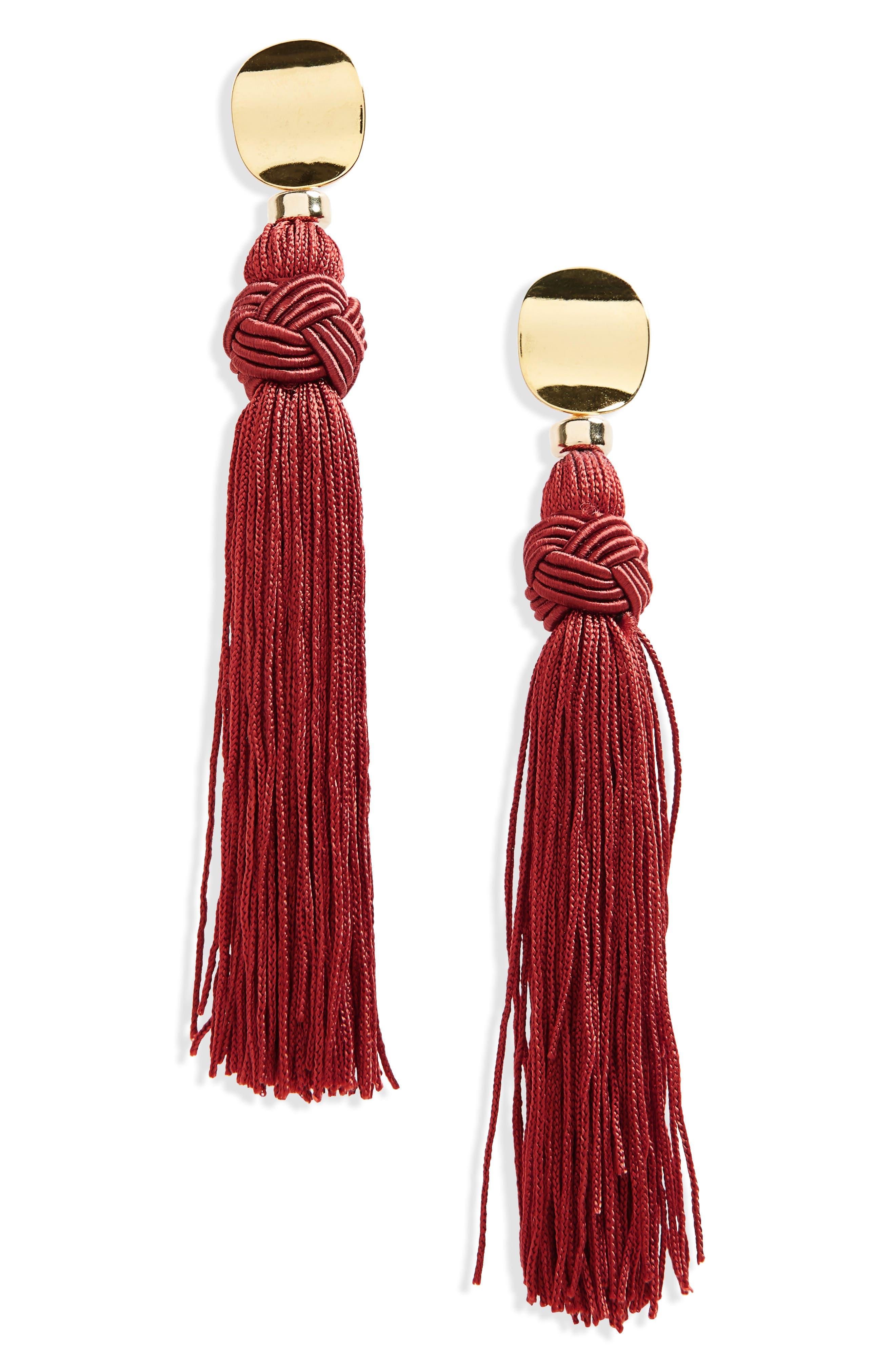 Sienna Luxe Tassel Drop Earrings,                             Main thumbnail 1, color,                             Burgundy