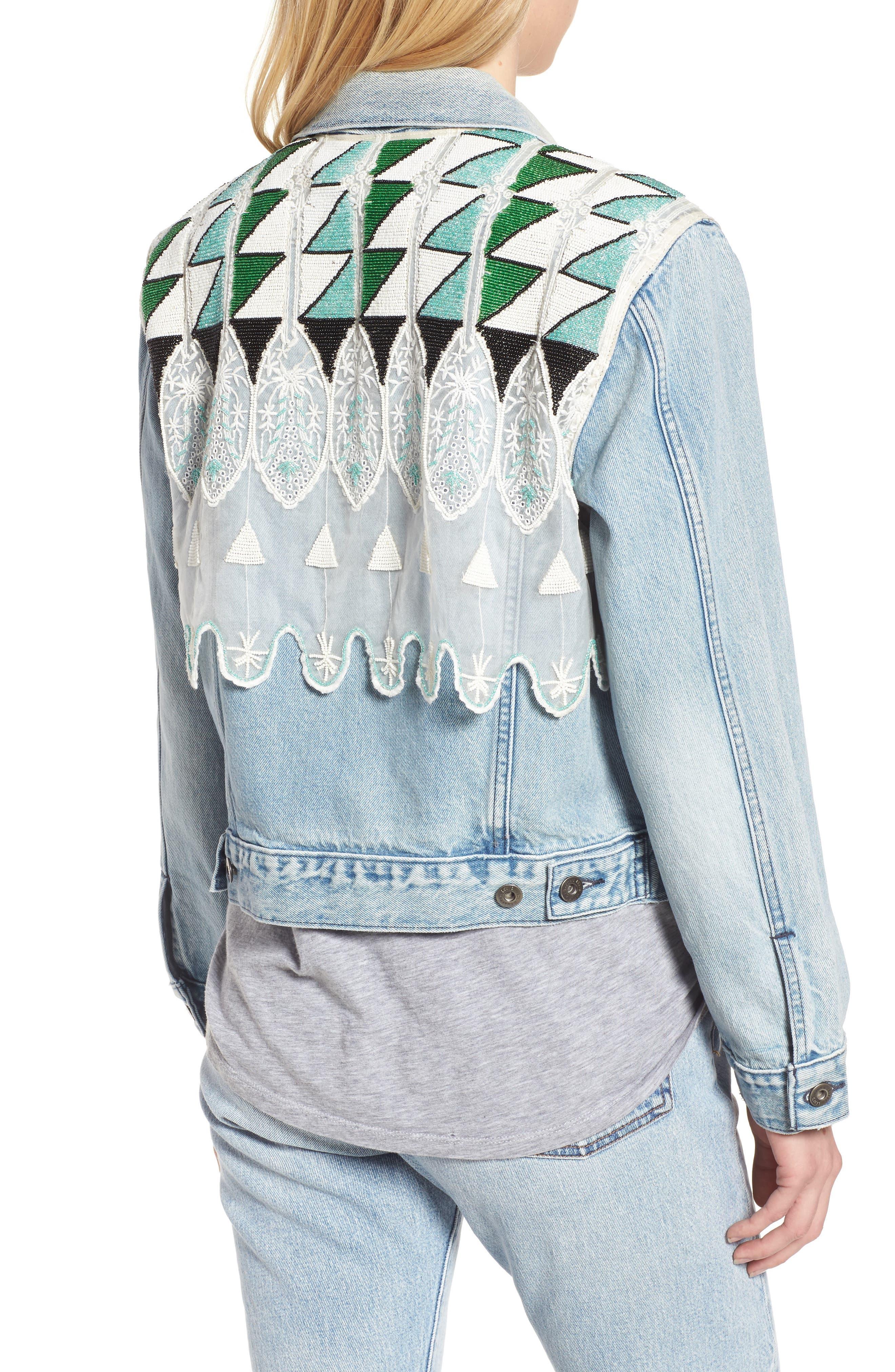 Embellished Boyfriend Trucker Jacket,                             Alternate thumbnail 2, color,                             Tribal Embellishment