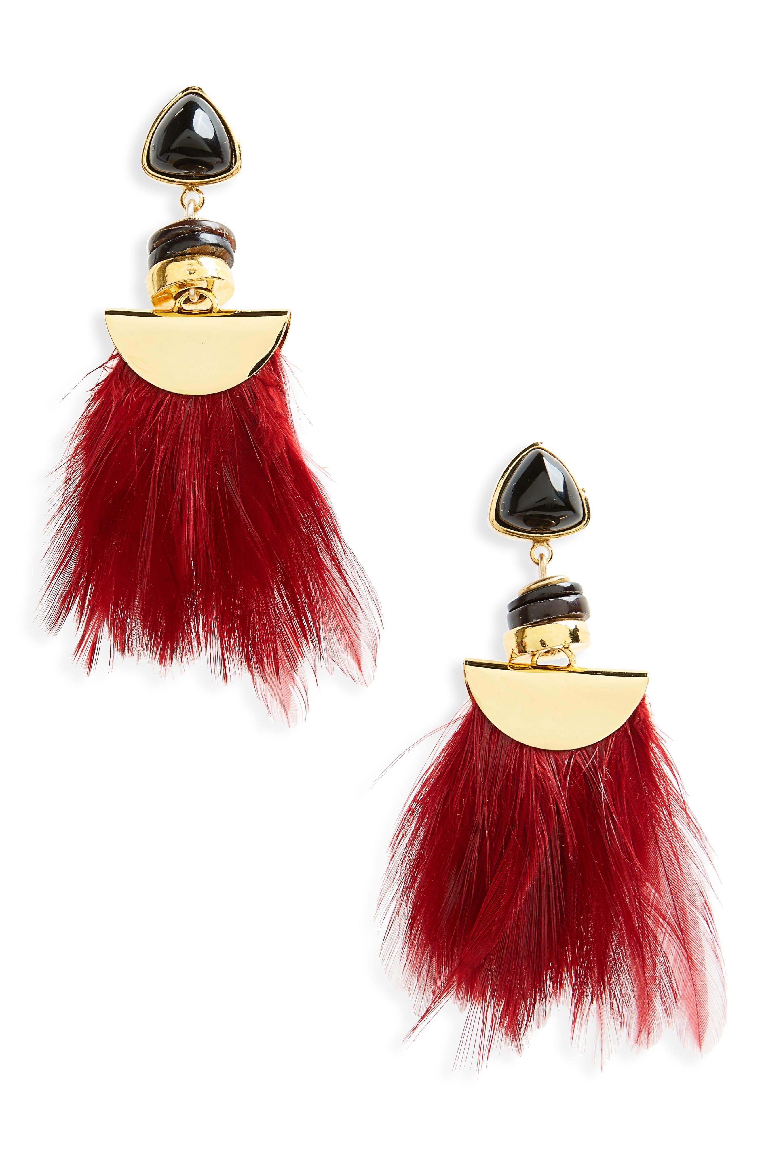 Parrot Feather Drop Earrings,                             Main thumbnail 1, color,                             Burgundy
