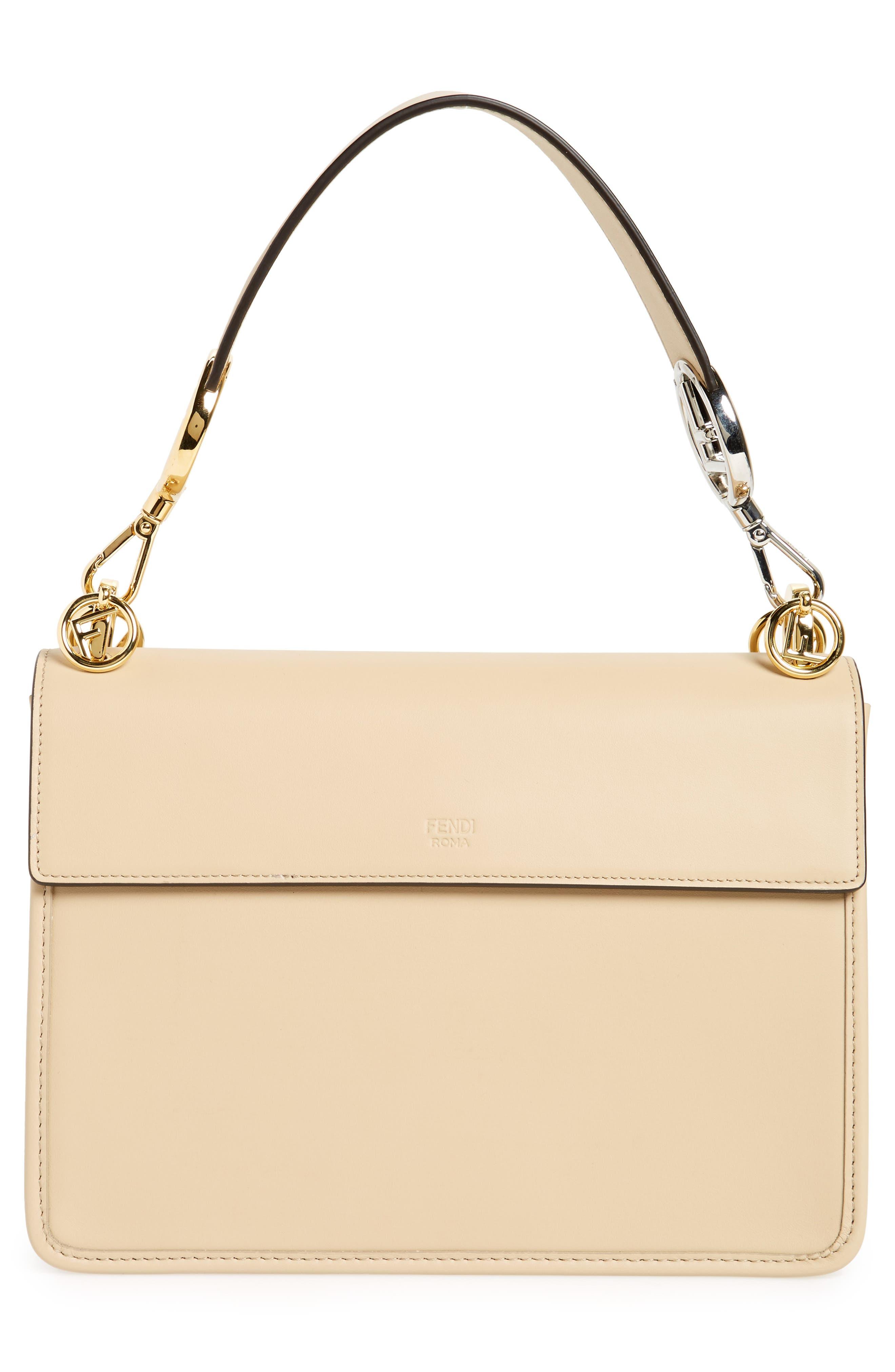 Kan I Calfskin Leather Shoulder Bag,                             Alternate thumbnail 3, color,                             Beige