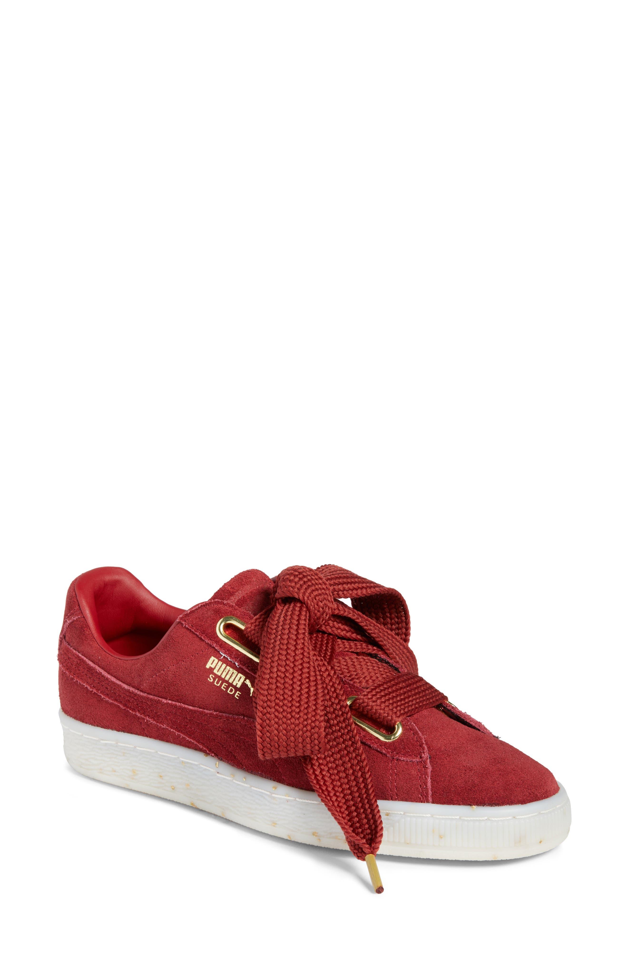 Suede - Heart Sneaker,                         Main,                         color, Red Dahlia/ Red Dahlia