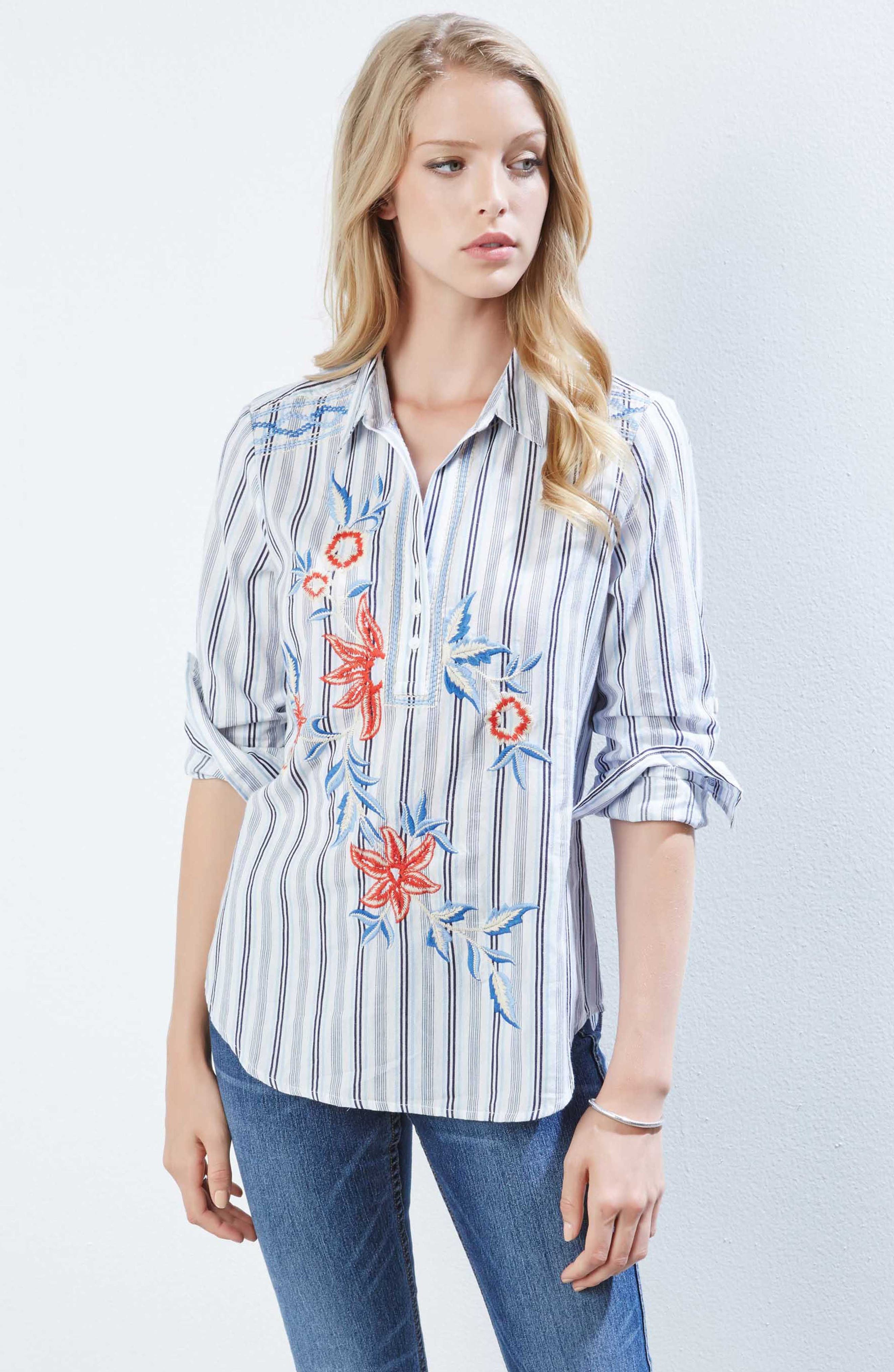 Embroidered Roll Sleeve Shirt,                             Alternate thumbnail 3, color,                             Striped