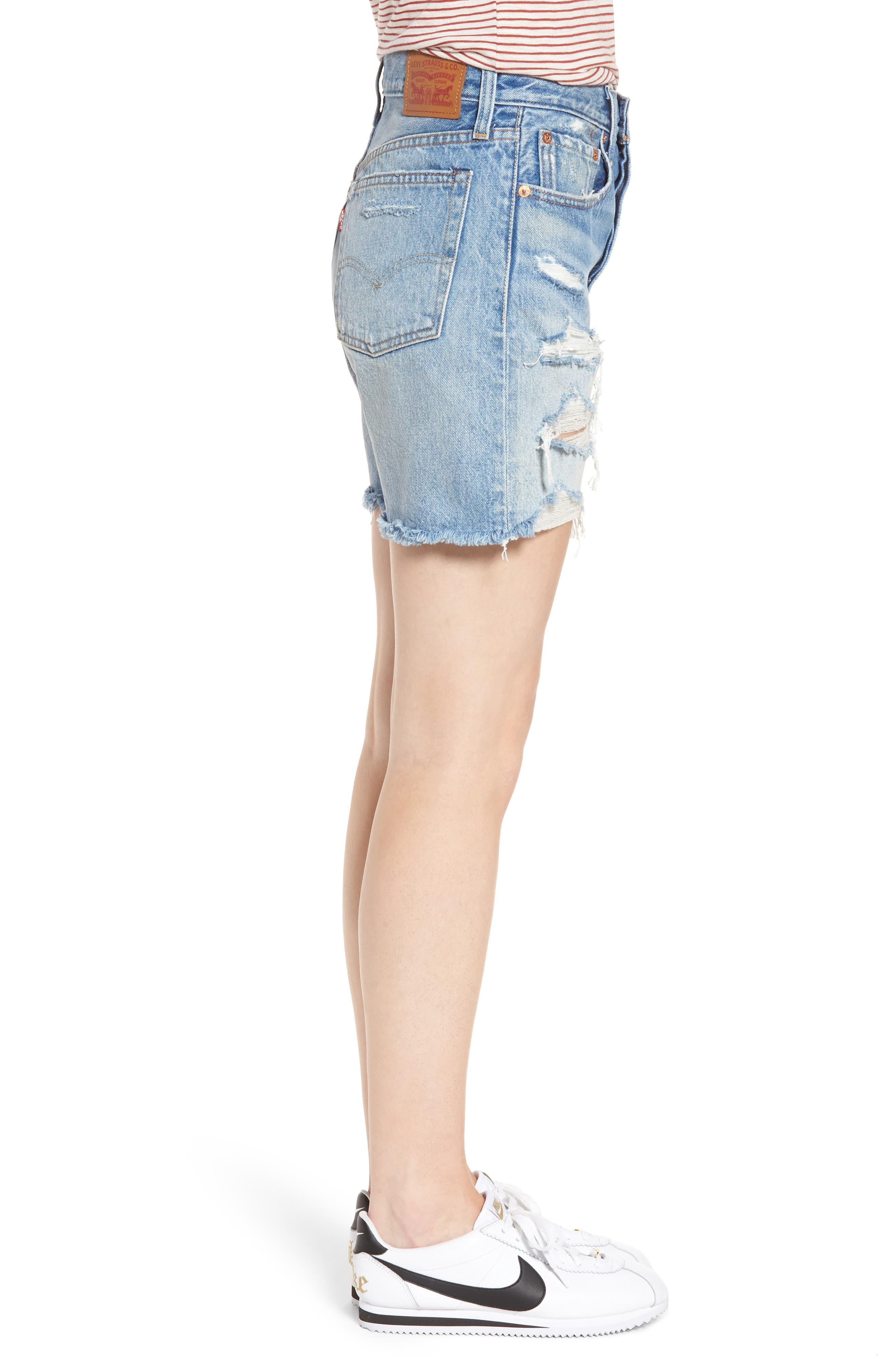 Indie Shredded Cutoff Denim Shorts,                             Alternate thumbnail 3, color,                             Let It Rip