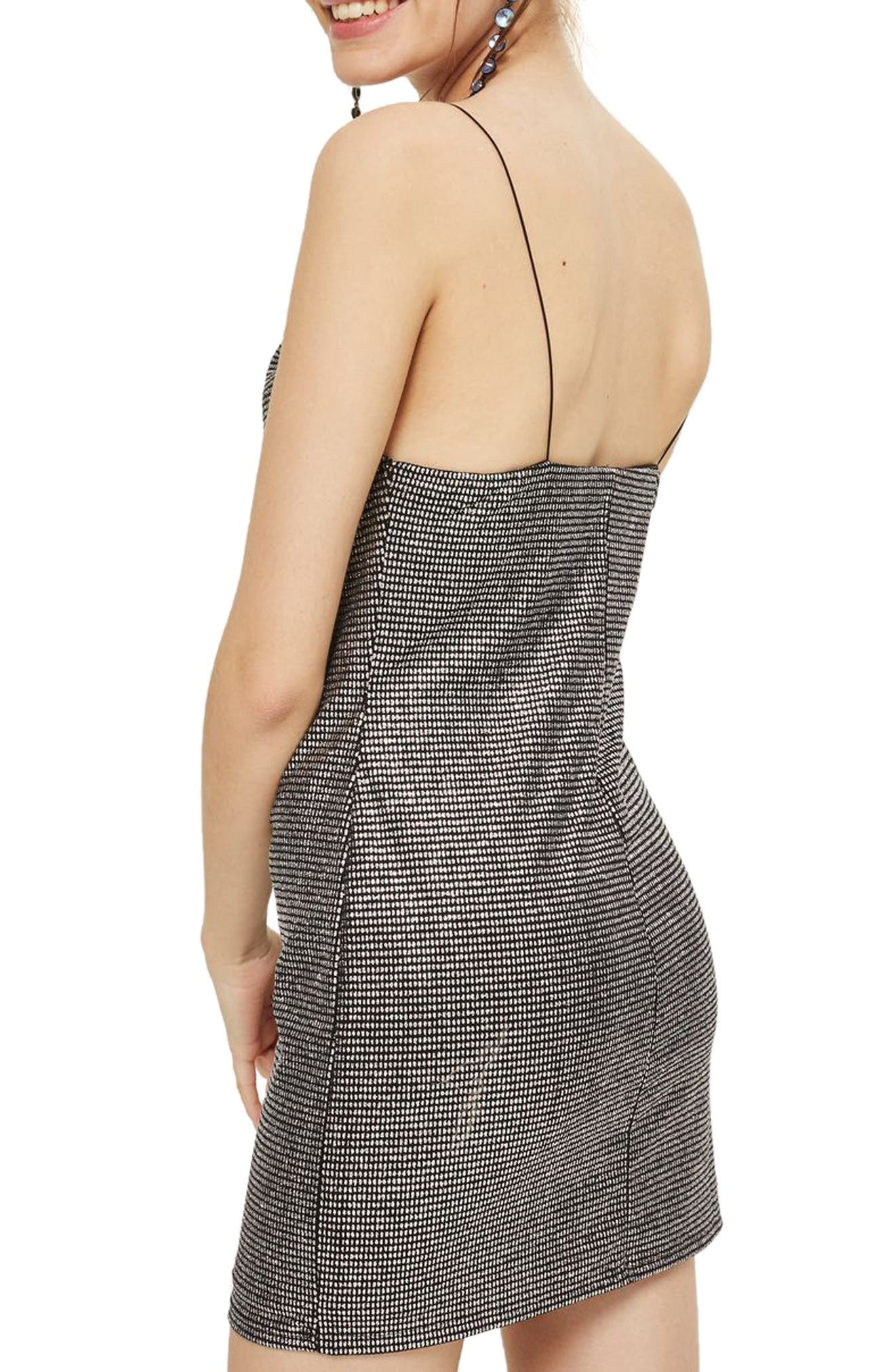 Metallic Cowl Neck Body-Con Dress,                             Alternate thumbnail 3, color,                             Silver