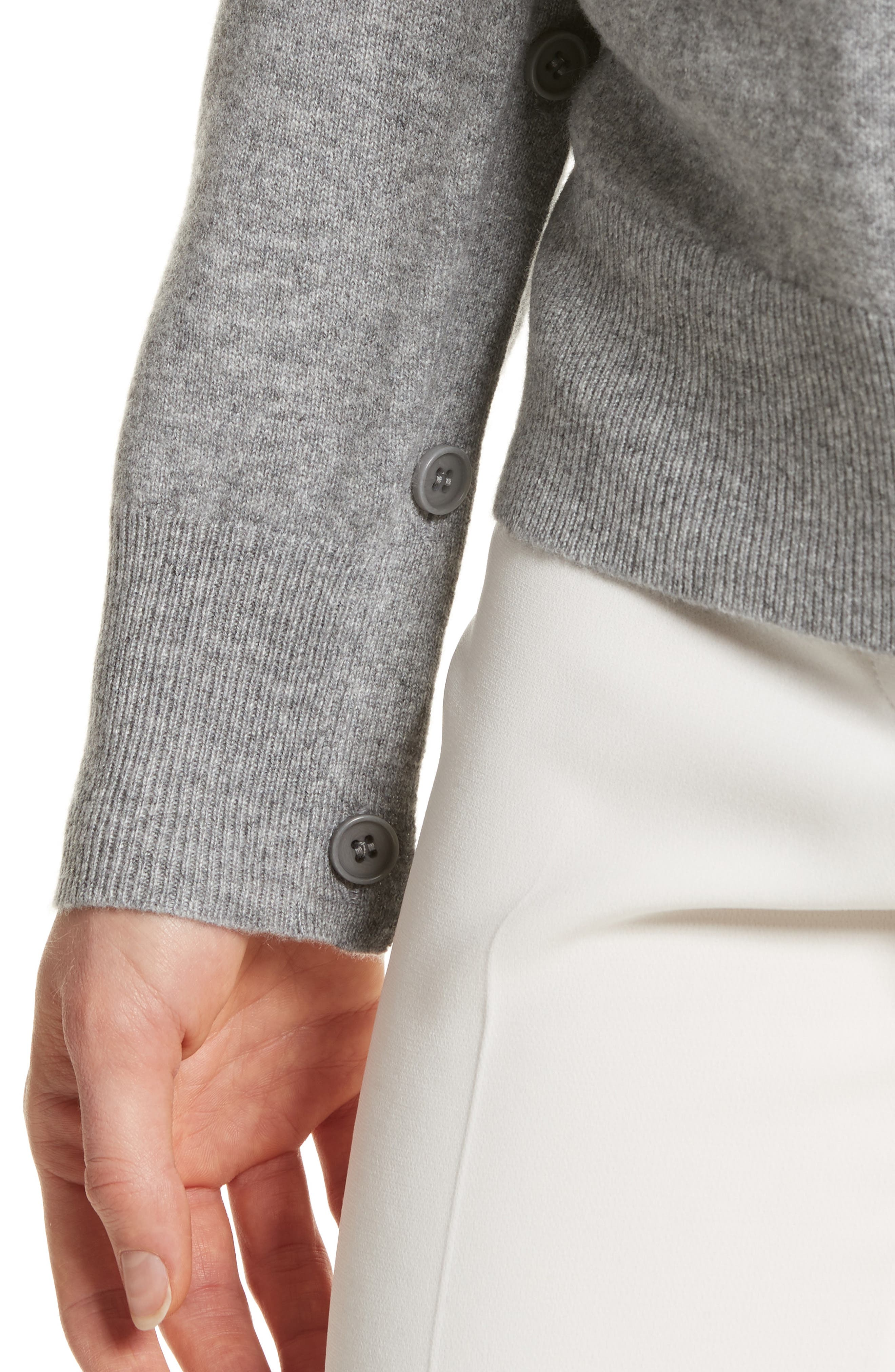 Button Sleeve Cashmere Sweater,                             Alternate thumbnail 4, color,                             Husky