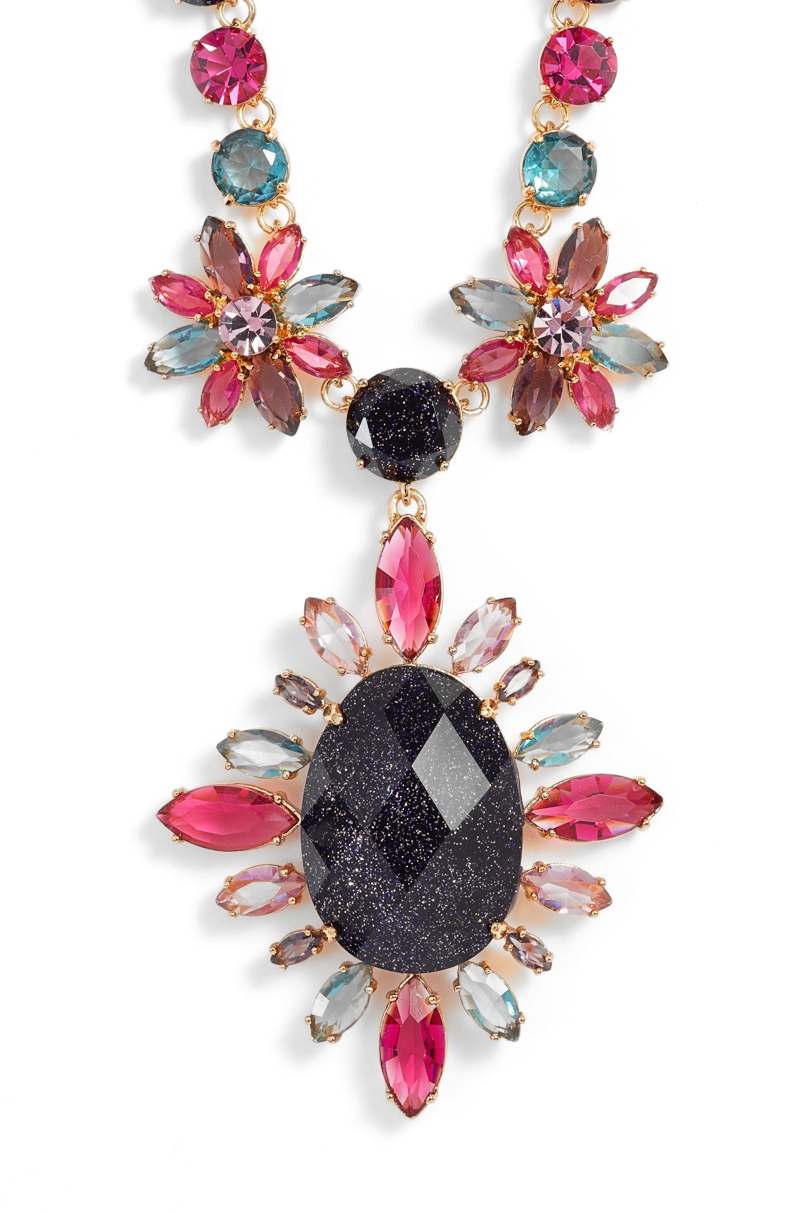 night sky pendant statement necklace,                         Main,                         color, Purple Multi