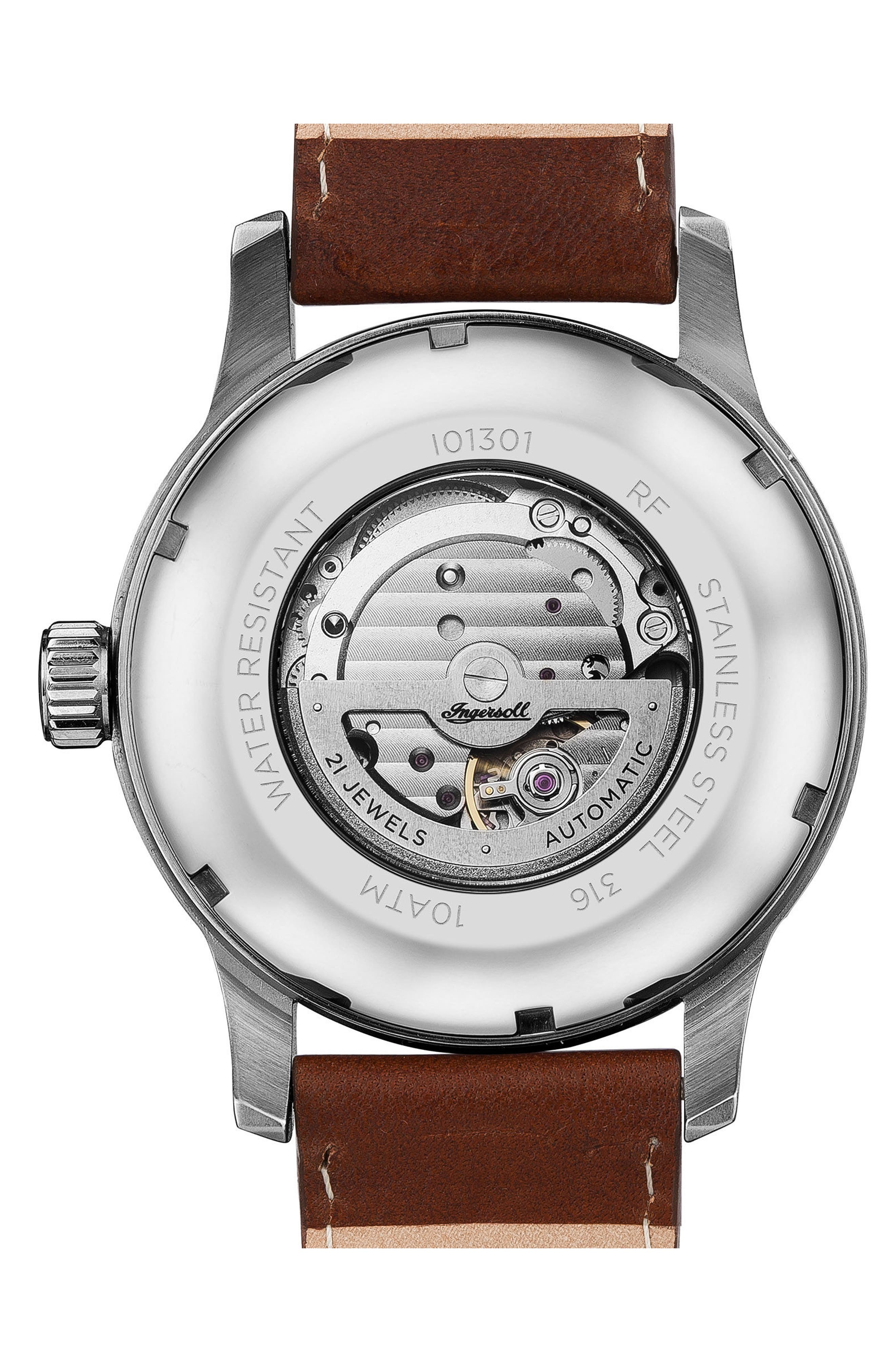 Ingersoll Hatton Automatic Leather Strap Watch, 46mm,                             Alternate thumbnail 2, color,                             Brown/ Cream/ Silver