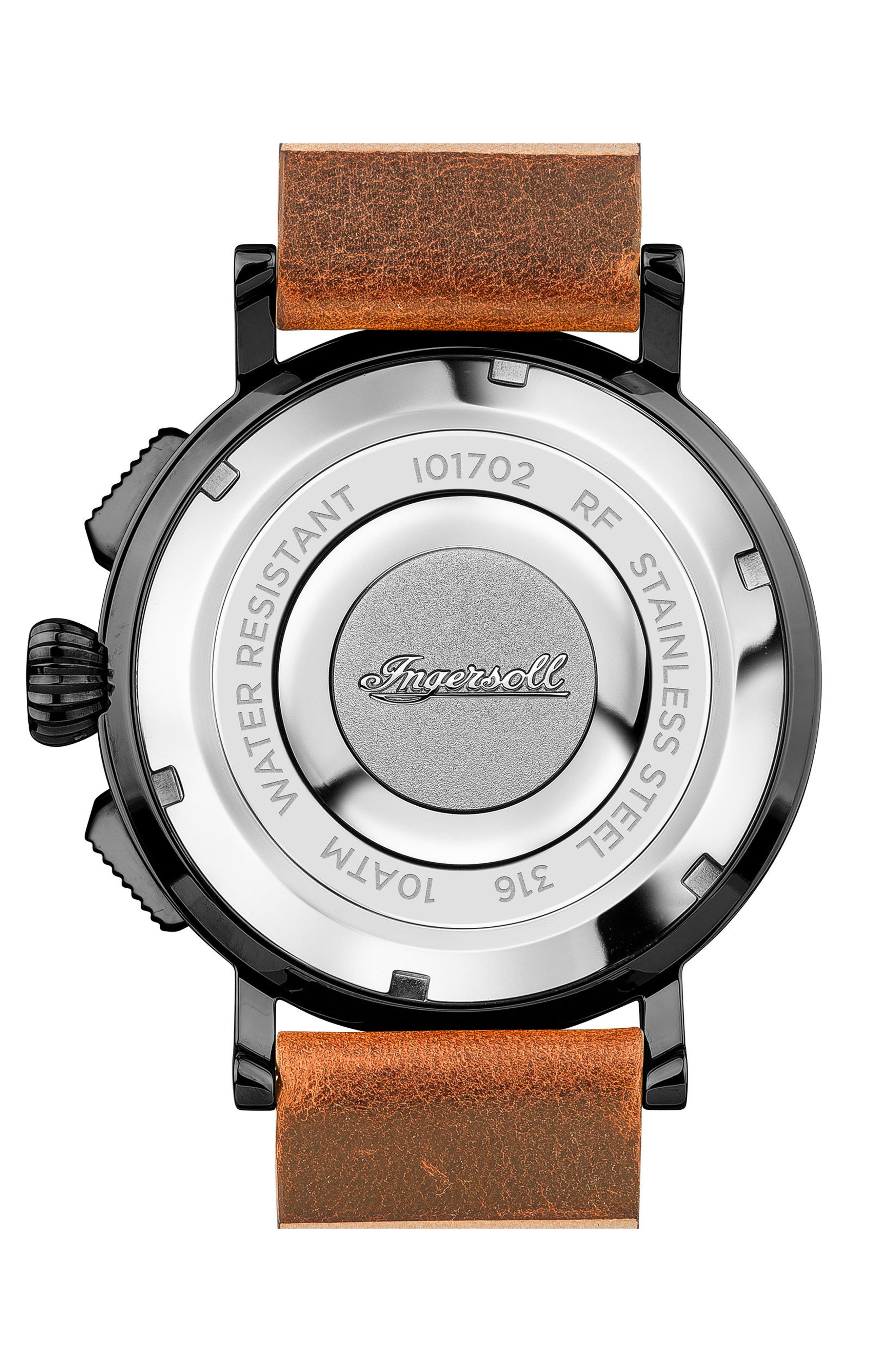 Ingersoll St. John Chronograph Leather Strap Watch, 44mm,                             Alternate thumbnail 2, color,                             Tan/ Grey/ Gunmetal