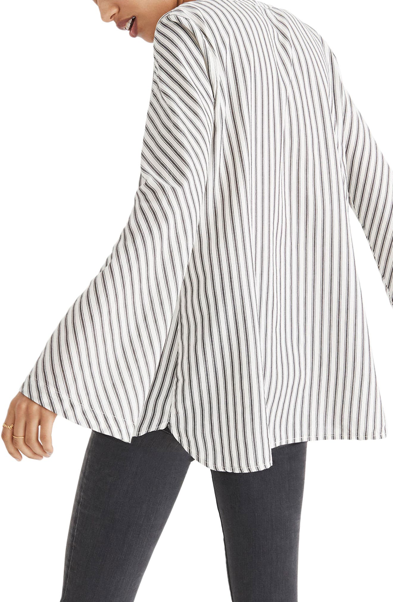 Stripe Flare Sleeve Shirt,                             Alternate thumbnail 2, color,                             Brighton Stripe White Wash