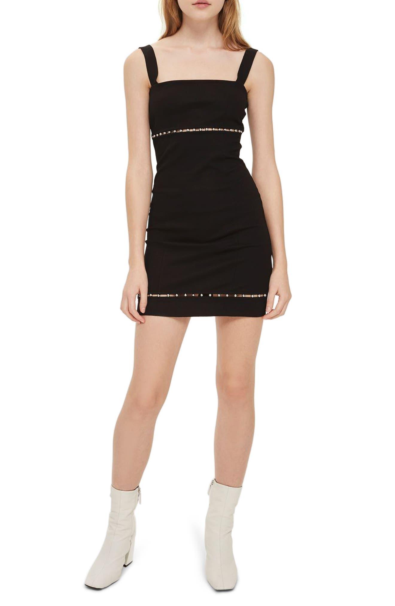 Bead Trim Body-Con Dress,                             Main thumbnail 1, color,                             Black
