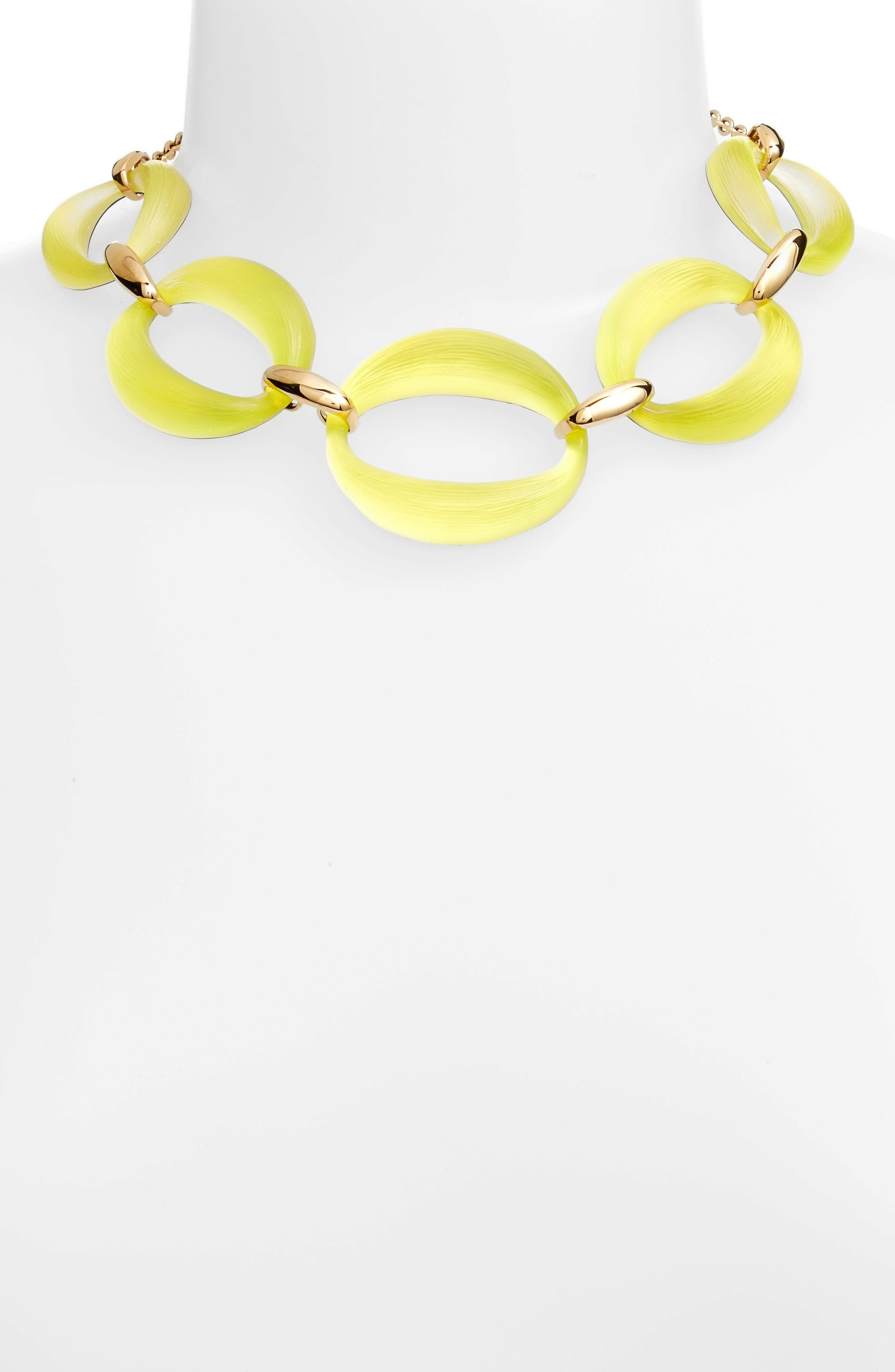 Large Lucite<sup>®</sup> Link Frontal Necklace,                             Alternate thumbnail 2, color,                             Titanium Yellow