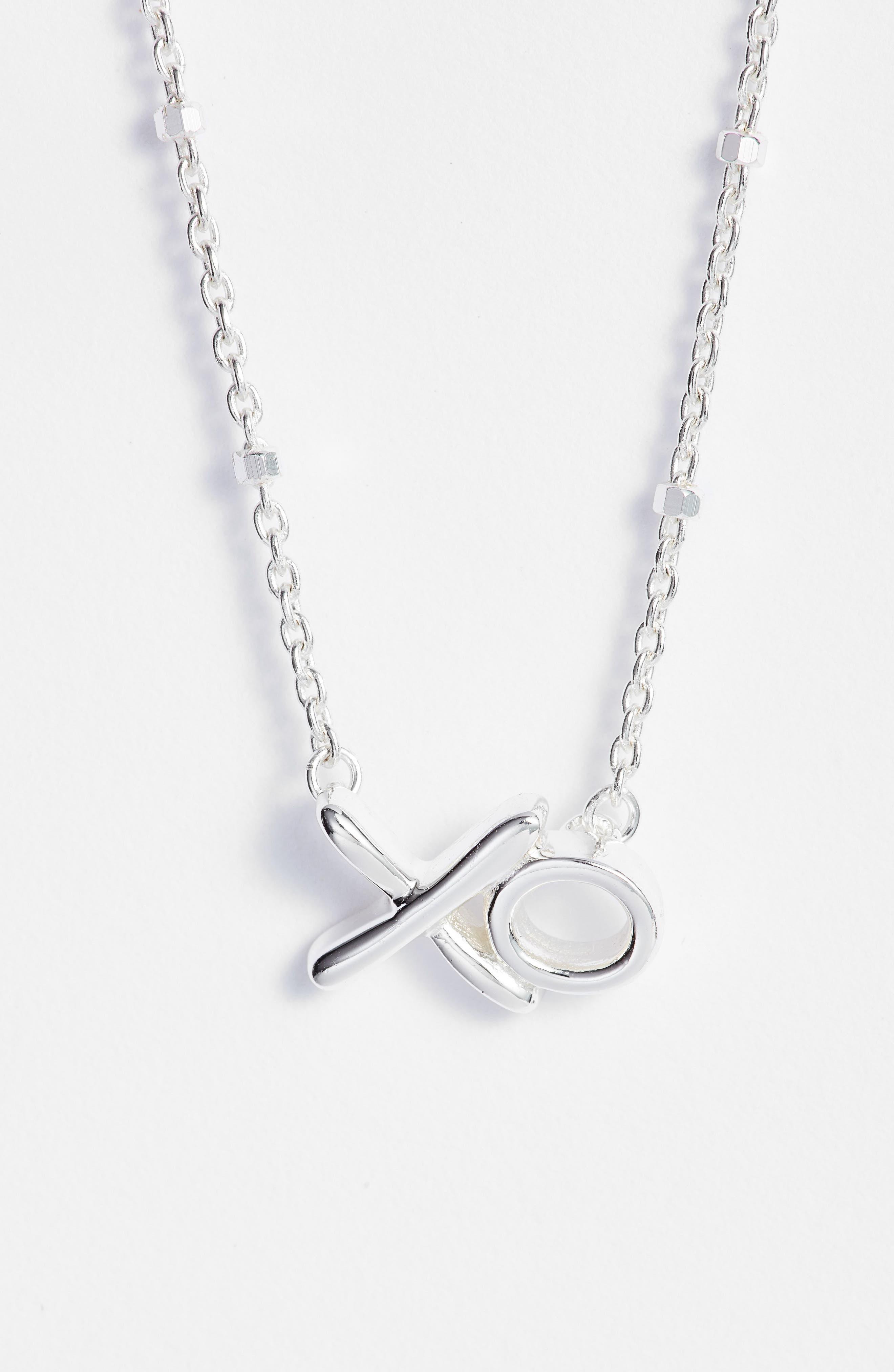 XO Pendant Necklace,                             Main thumbnail 1, color,                             Silver