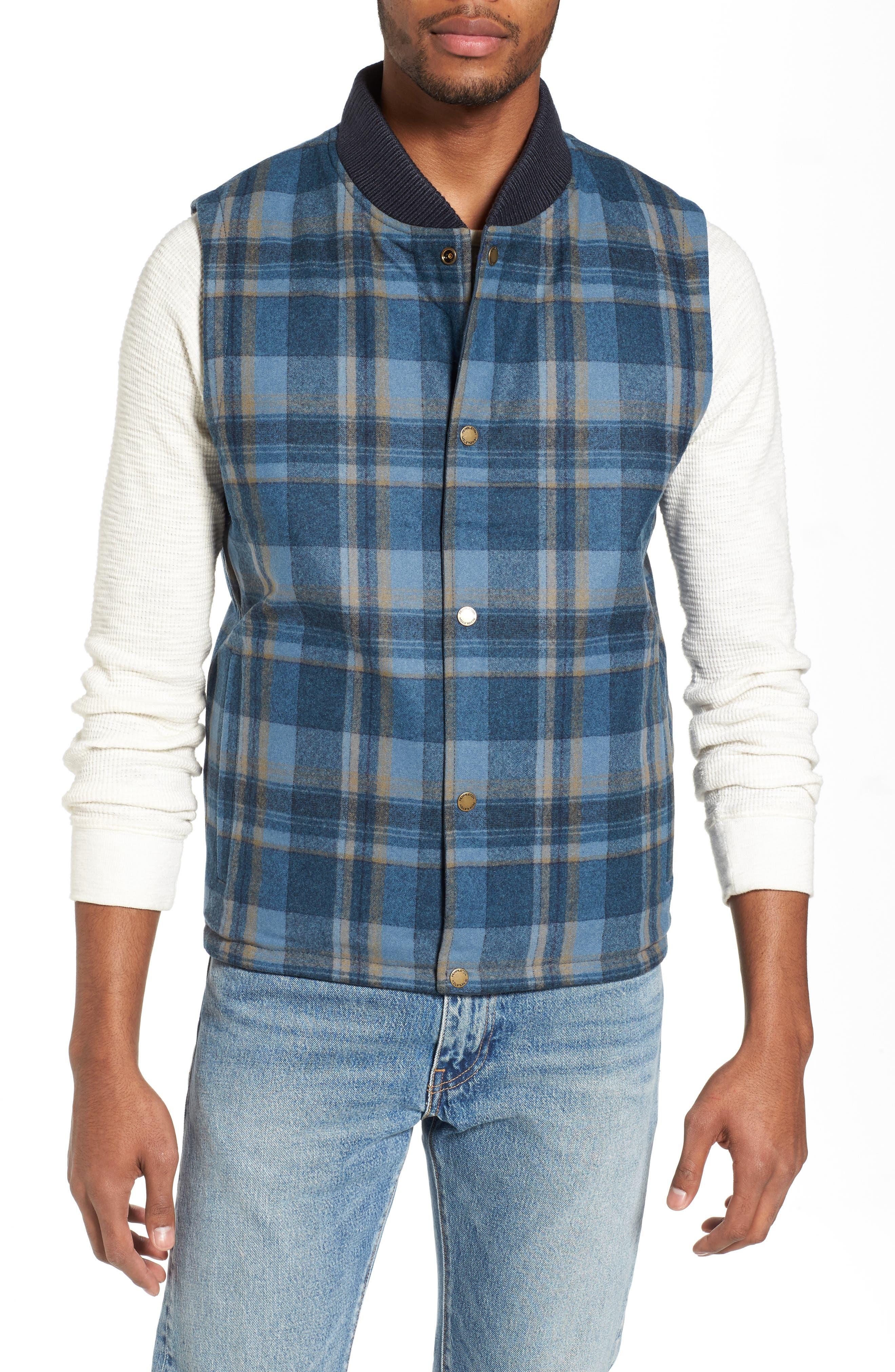 Reversible Canvas Vest,                             Alternate thumbnail 4, color,                             Navy/ Indigo Plaid