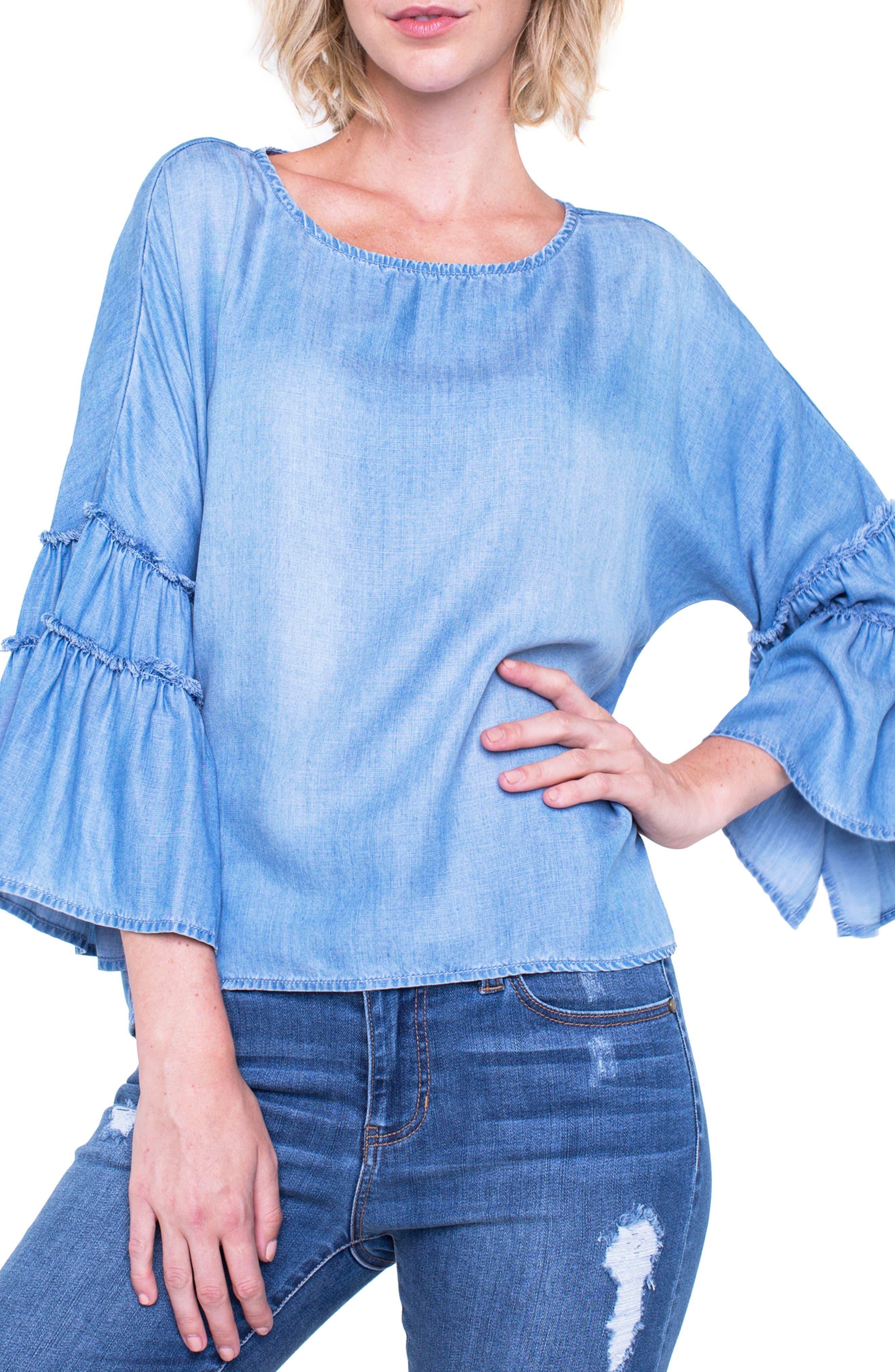 Voluminous Sleeve Shirt,                             Main thumbnail 1, color,                             Sonora Light