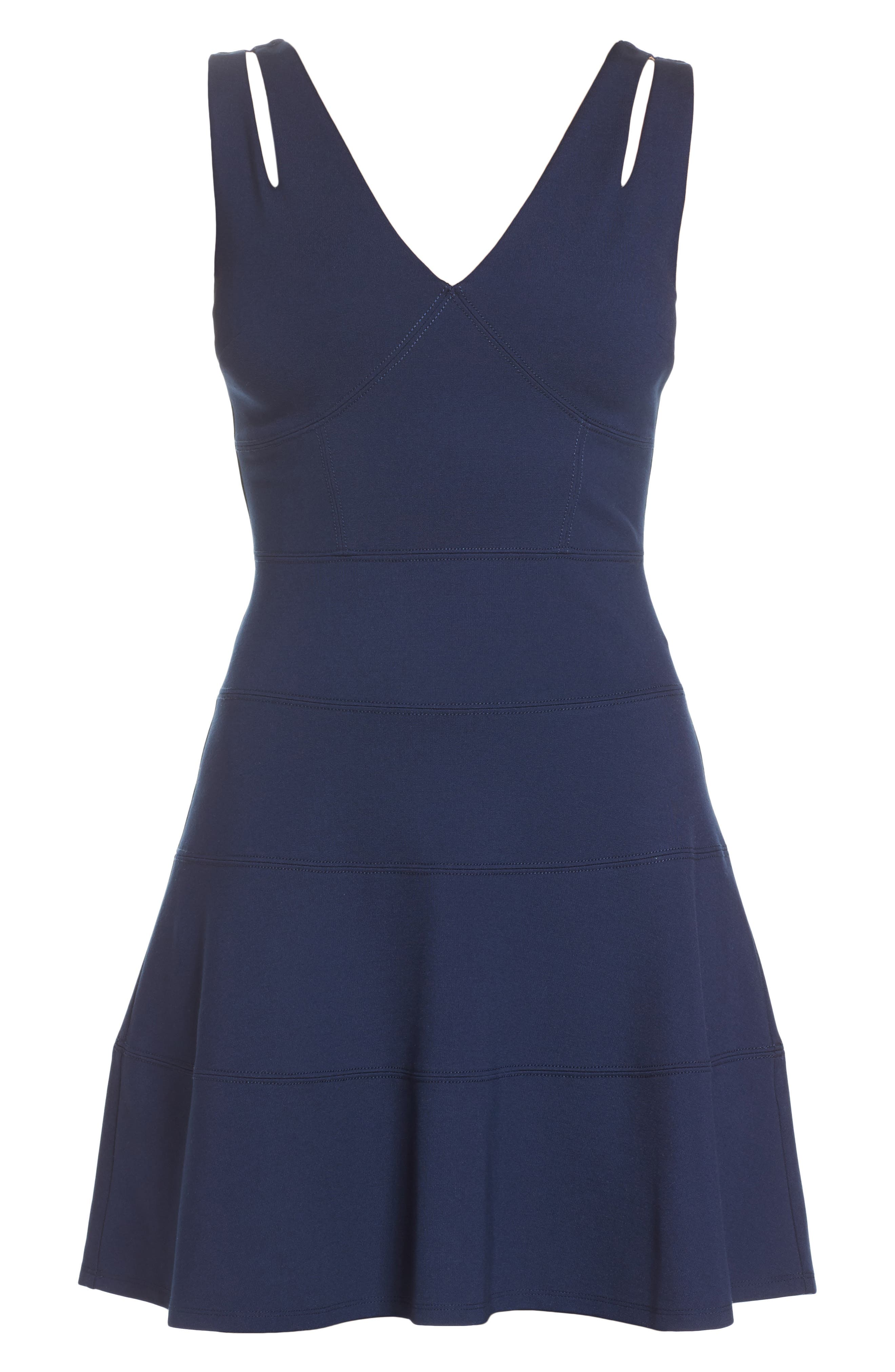 Lace Back Fit & Flare Dress,                             Alternate thumbnail 7, color,                             Navy