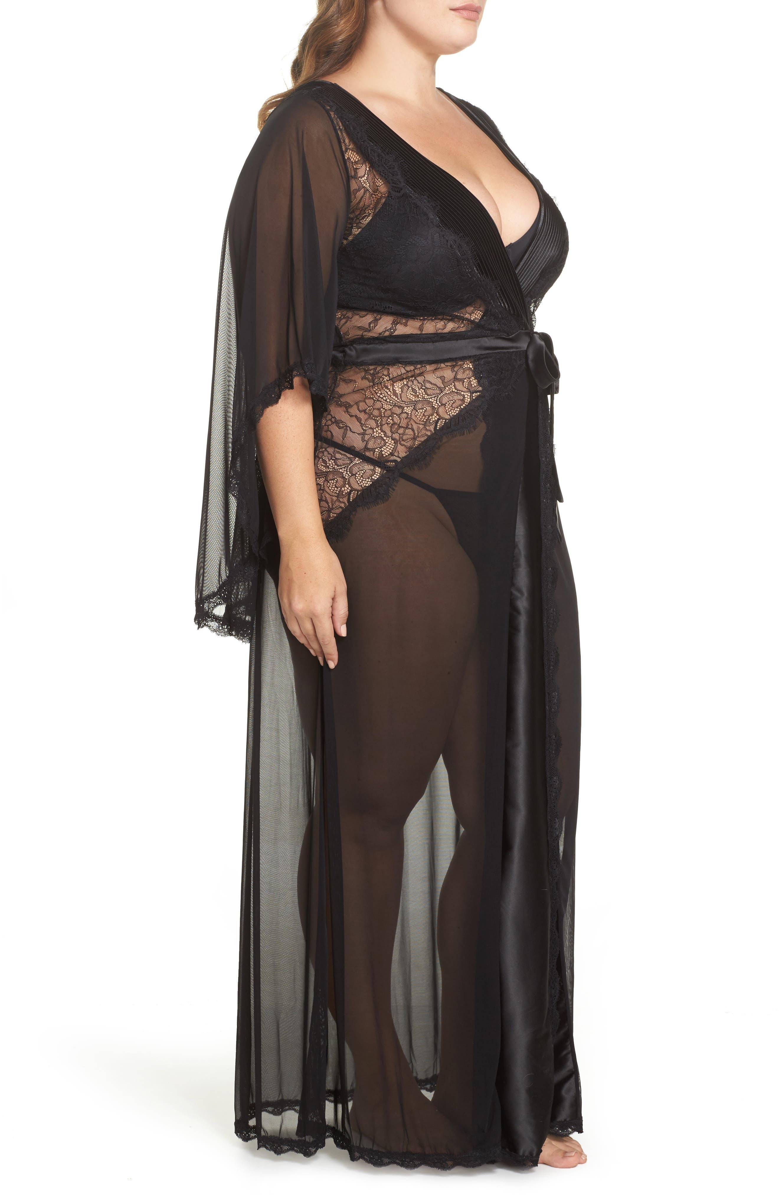 Alternate Image 3  - Oh La La Cheri Nicolette Sheer Robe & G-String (Plus Size)