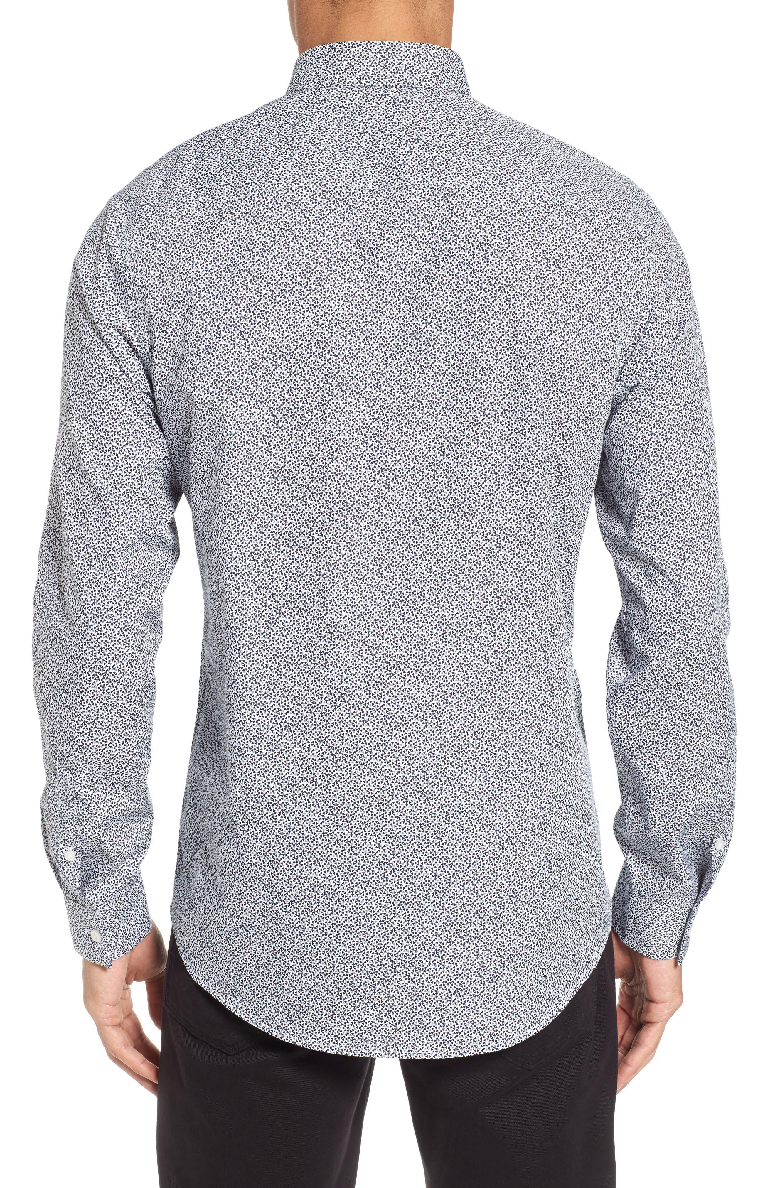 Trim Fit Geometric Sport Shirt,                             Alternate thumbnail 3, color,                             Navy Blue Scatter Triangles