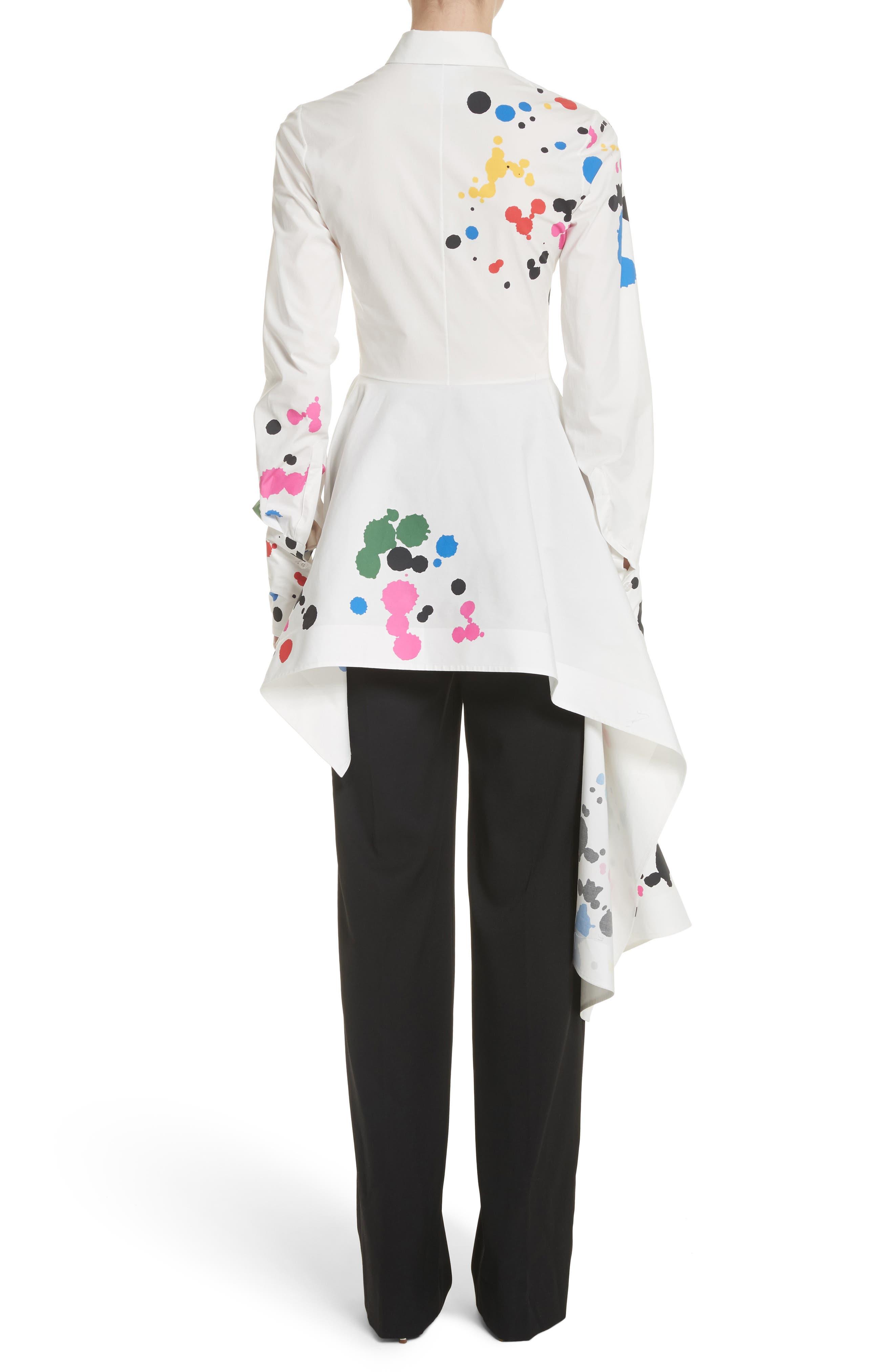 Paint Splatter Asymmetrical Poplin Shirt,                             Alternate thumbnail 2, color,                             White Multi