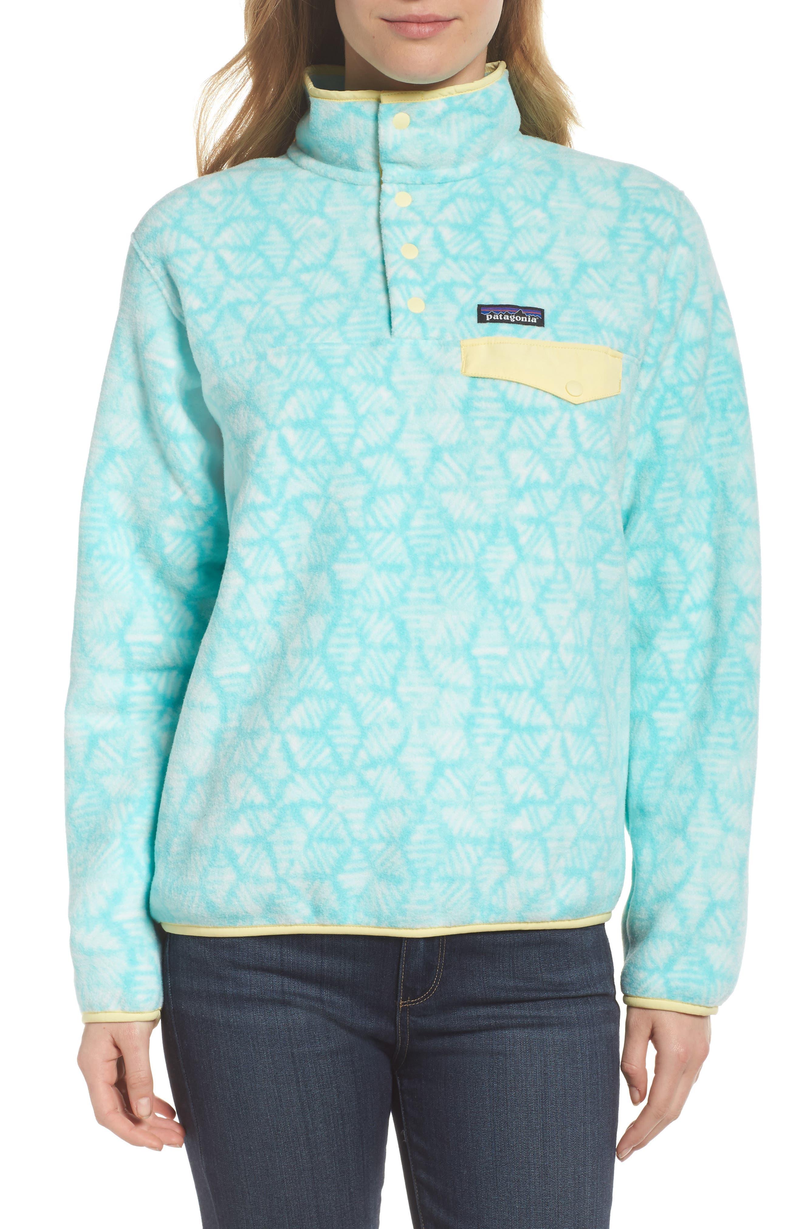 Synchilla Snap-T<sup>®</sup> Fleece Pullover,                         Main,                         color, Batik Hex Big/ Bend Blue