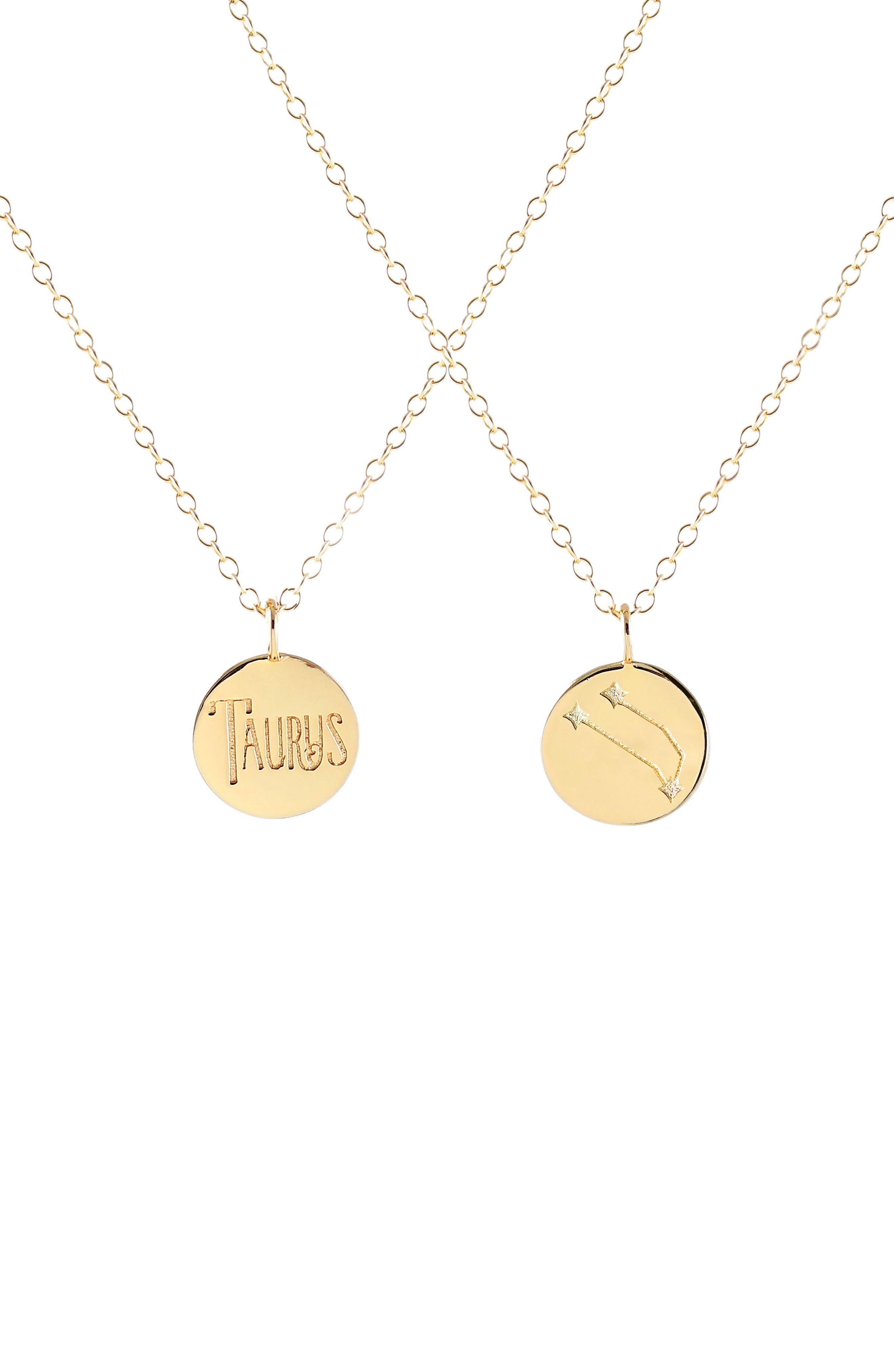 Zodiac Charm Necklace,                         Main,                         color, Taurus - Gold