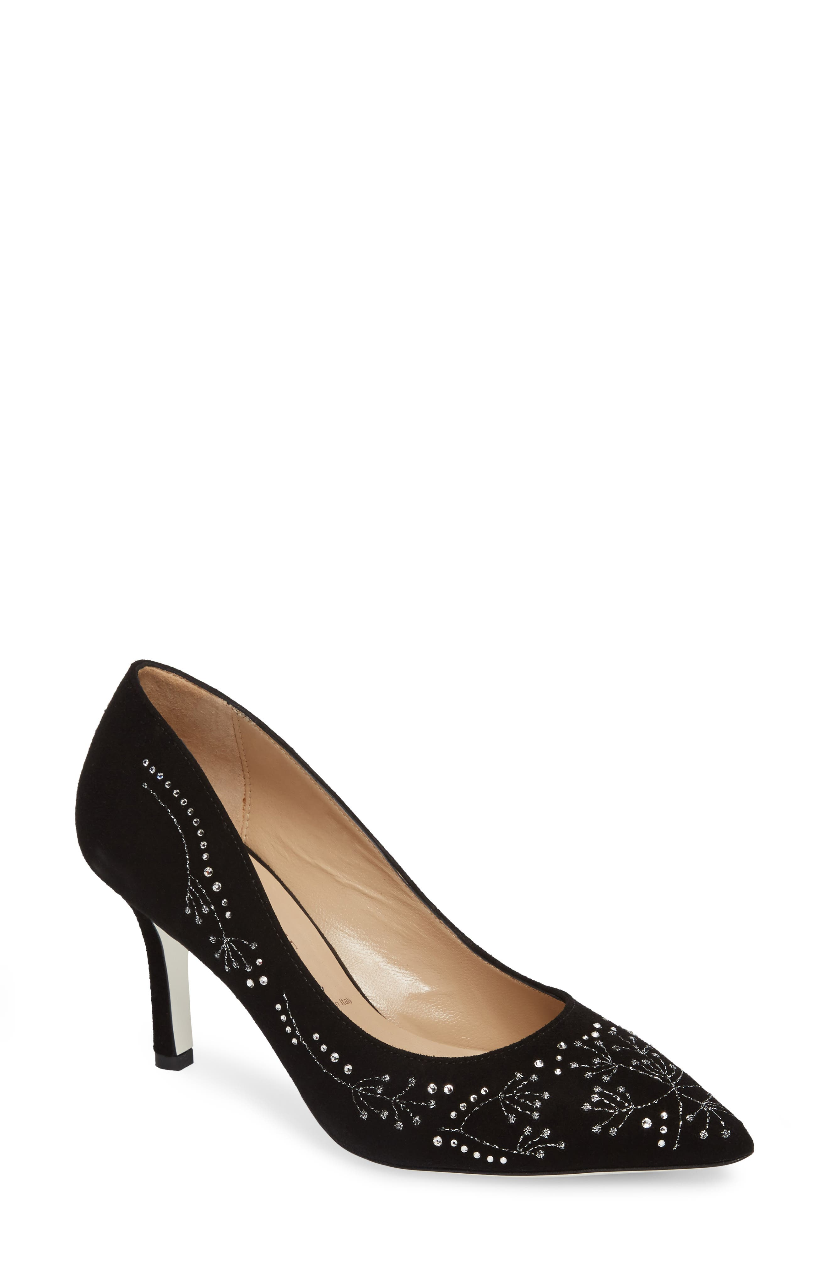 Carla Crystal Embellished Pump,                             Main thumbnail 1, color,                             Onyx Suede