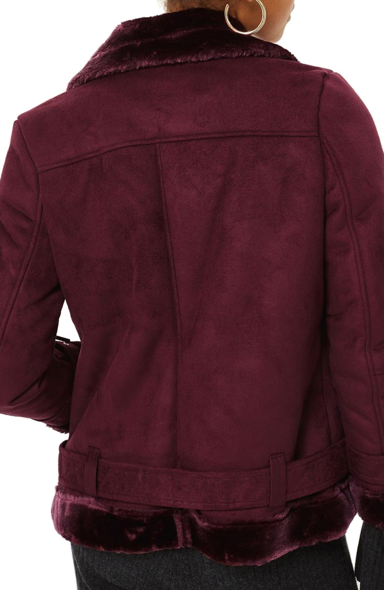 Alternate Image 2  - Topshop Cooper Faux Shearling Biker Jacket