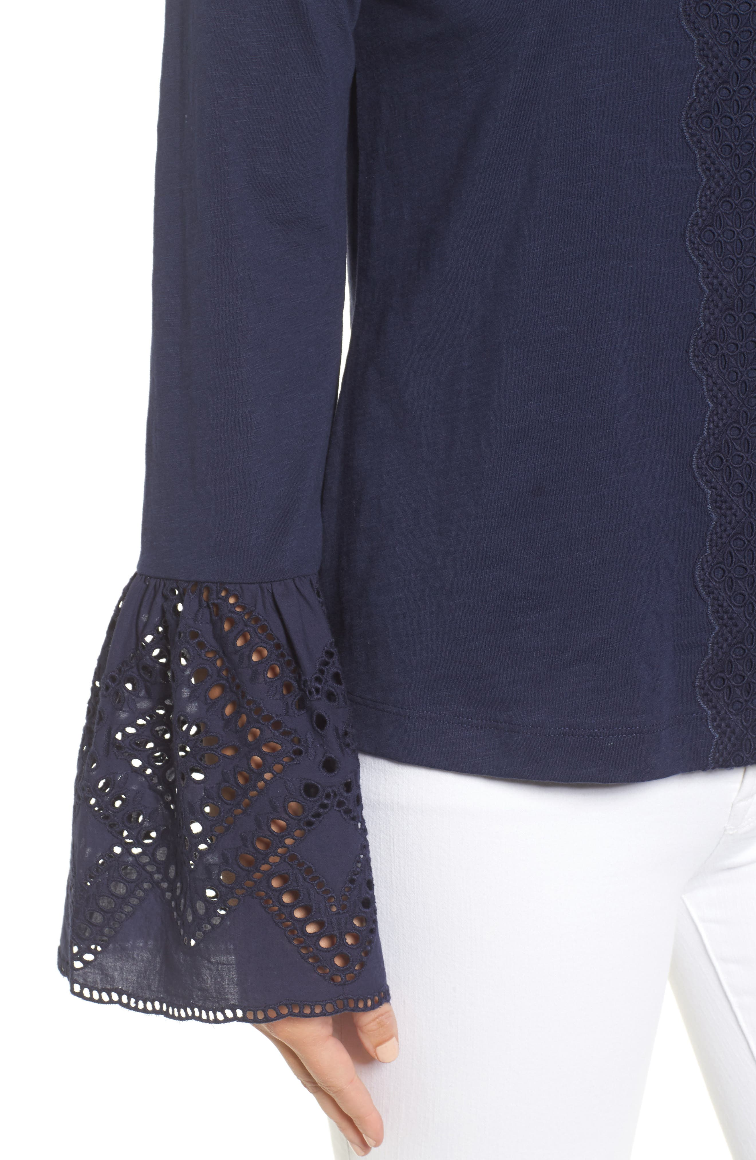 Eyelet Bell Sleeve Top,                             Alternate thumbnail 4, color,                             Navy Peacoat