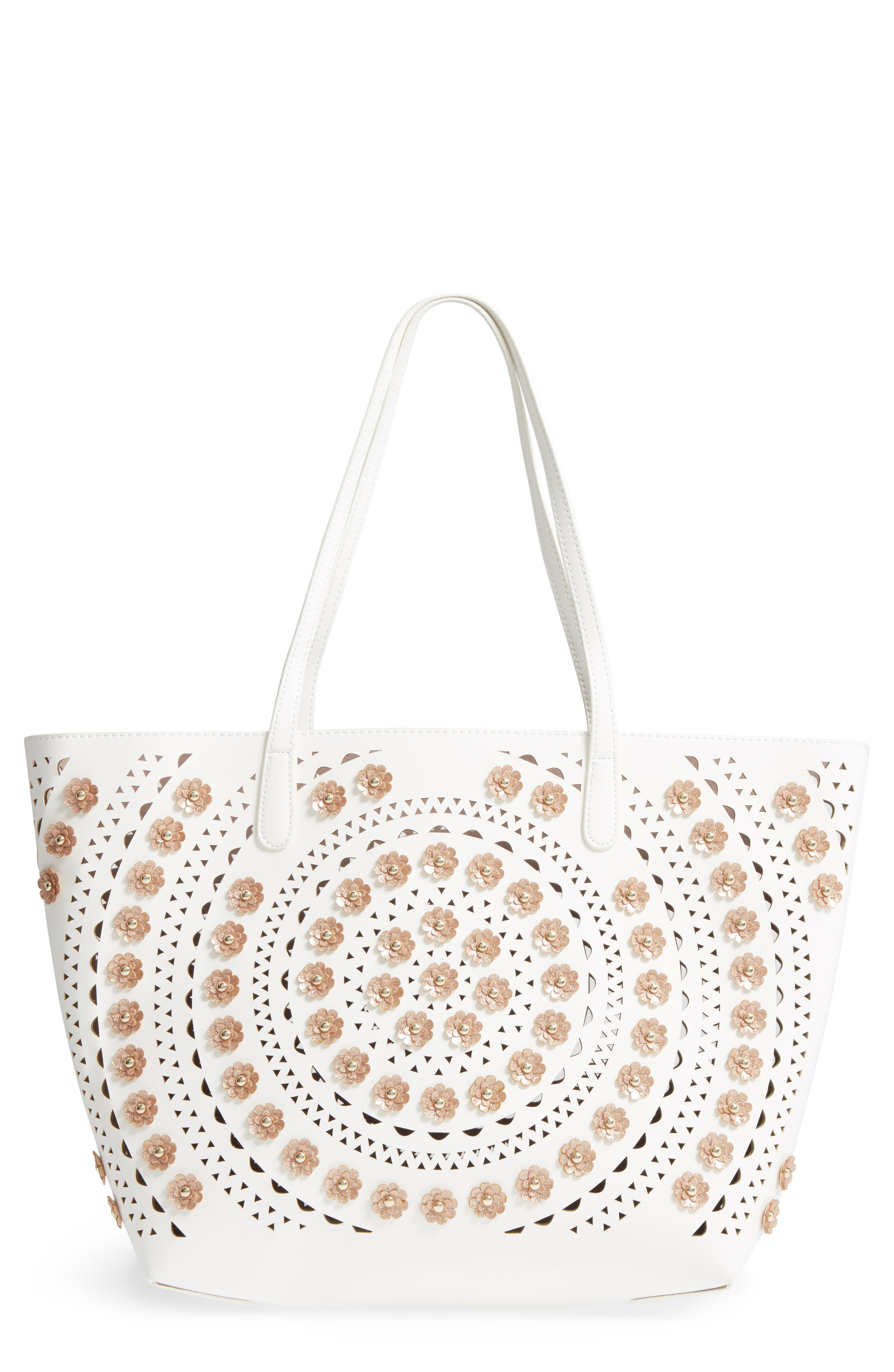 Perforated Glitter Flower Faux Leather Tote,                             Main thumbnail 1, color,                             White