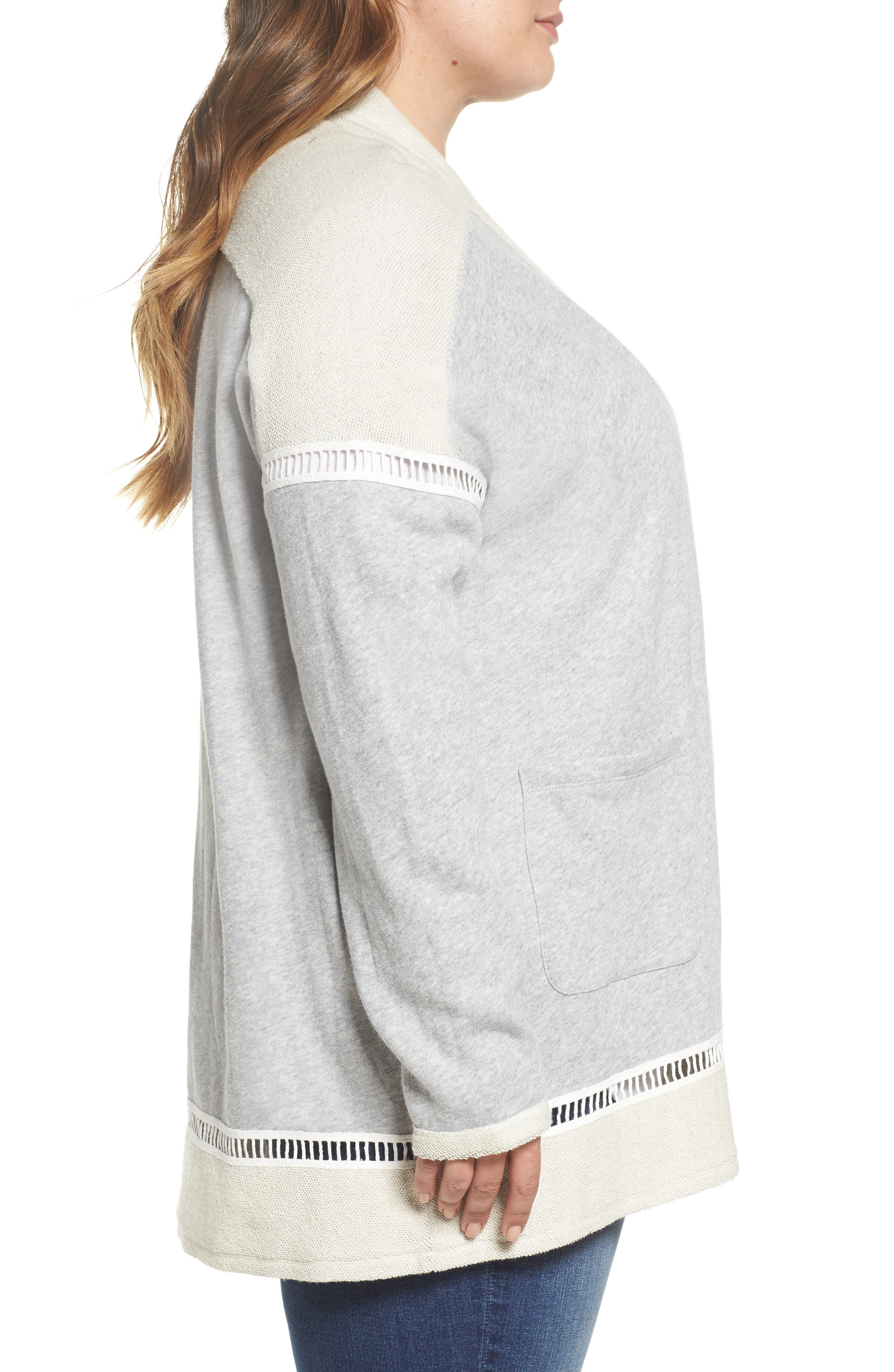 French Terry Cardigan,                             Alternate thumbnail 3, color,                             Grey Heather